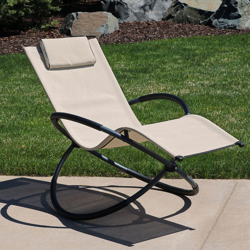 Outdoor Rocking Loungers Within Trendy Sunnydaze Orbital Outdoor Folding Zero Gravity Rocking Lounger W/ Pillow,  Beige (View 16 of 25)