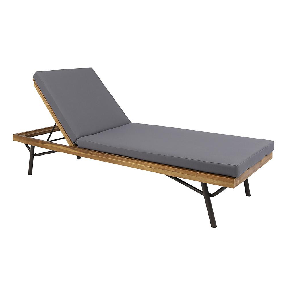 Outdoor Rustic Acacia Wood Chaise Lounges With Wicker Seat In Fashionable Noble House Canoga Teak Brown Wood Outdoor Chaise Lounge (Gallery 15 of 25)