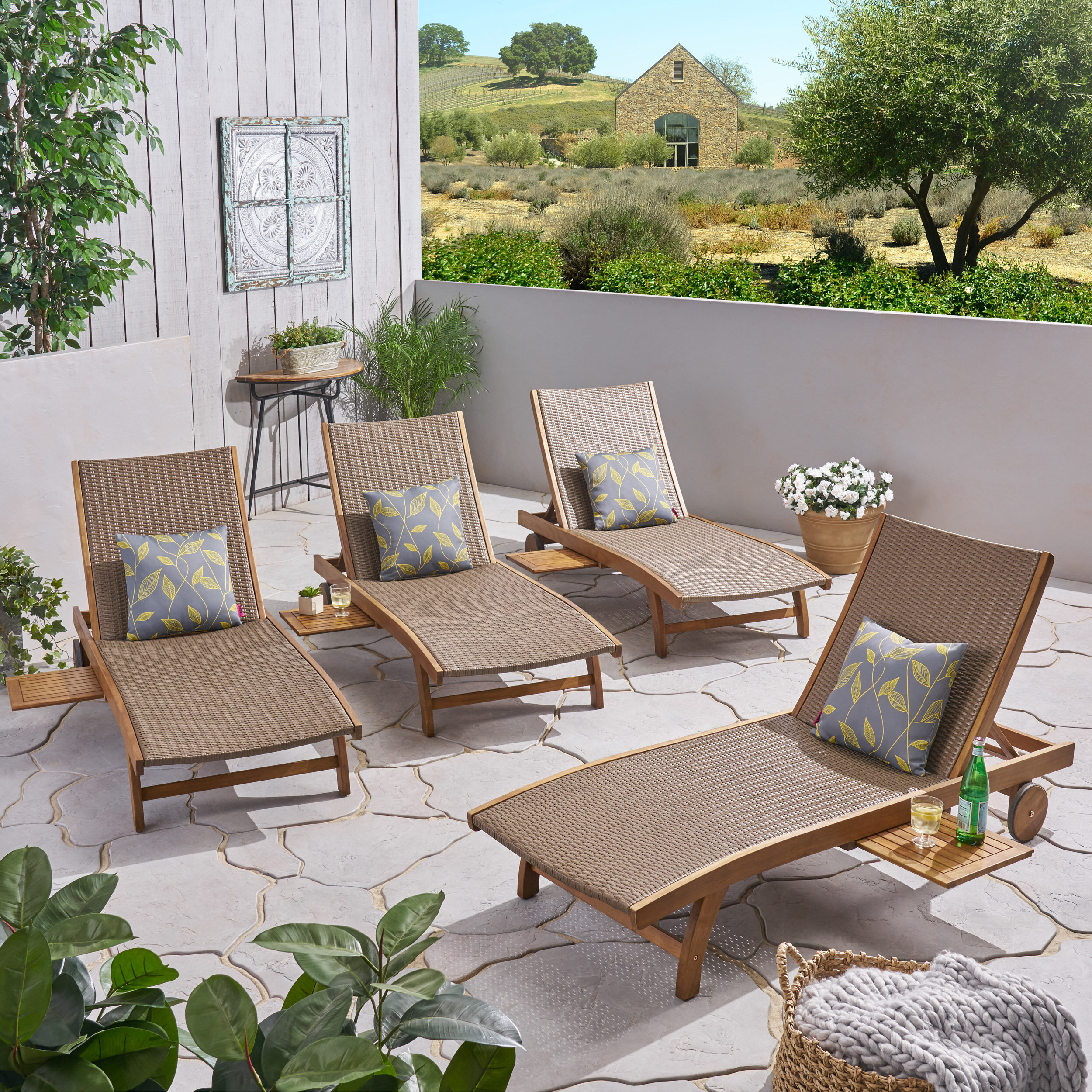 Outdoor Rustic Acacia Wood Chaise Lounges With Wicker Seat In Latest Cleghorn Reclining Chaise Lounge (View 9 of 25)