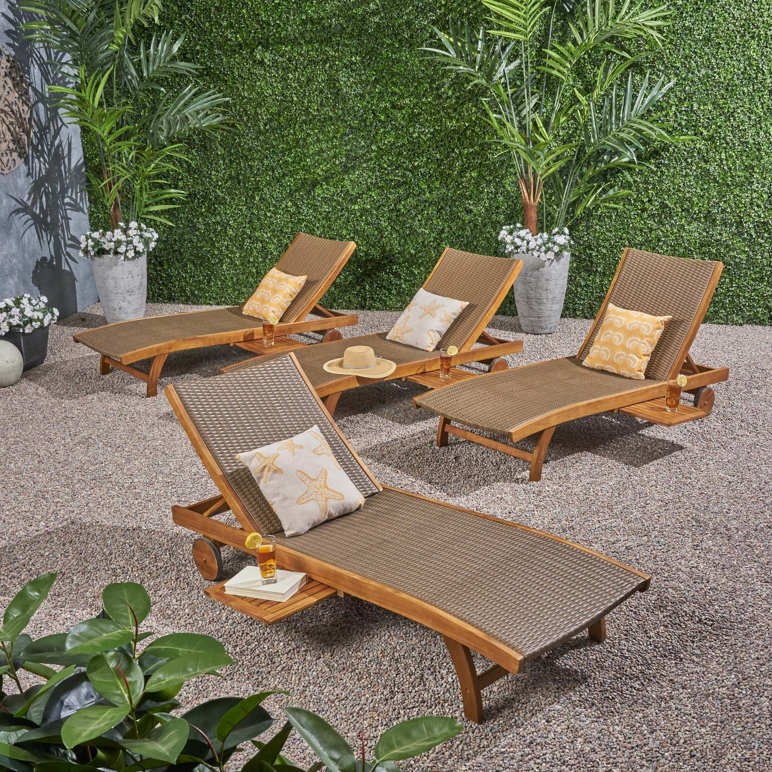 Outdoor Rustic Acacia Wood Chaise Lounges With Wicker Seat Throughout Most Current Banzai Outdoor Wicker And Wood Chaise Lounge With Pull Out Tray(Set Of 4)By Christopher Knight Home (View 7 of 25)