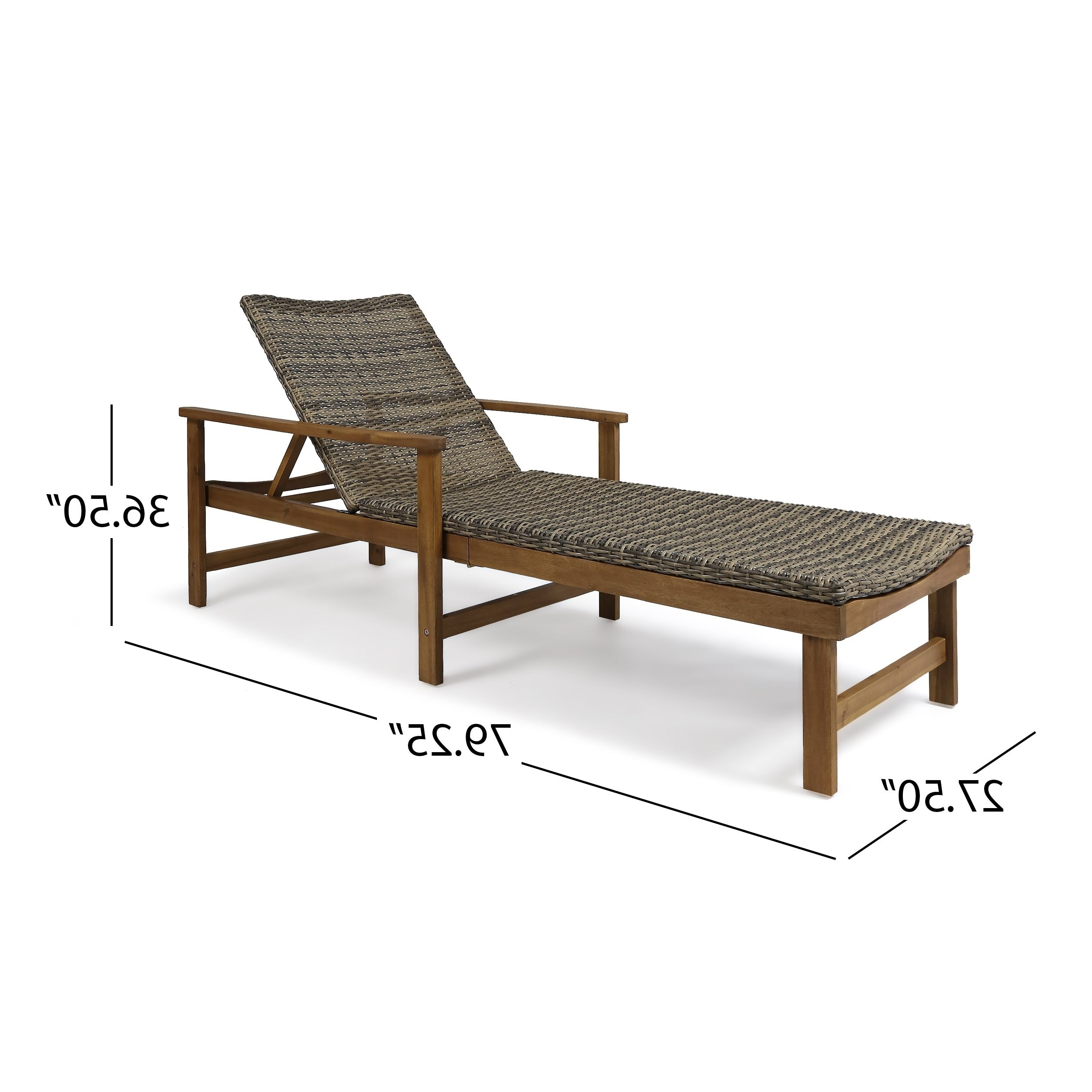 Outdoor Rustic Acacia Wood Chaise Lounges With Wicker Seats Pertaining To Current Details About Hampton Outdoor Rustic Acacia Wood Chaise Lounge With Wicker (Gallery 2 of 25)