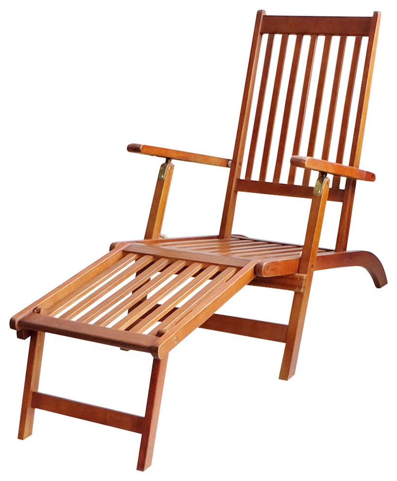 Outdoor Rustic Acacia Wood Chaise Lounges With Wicker Seats Pertaining To Popular Vidaxl Footrest Acacia Wood Outdoor Deck Chair Garden Chaise Lounger Seating (View 16 of 25)