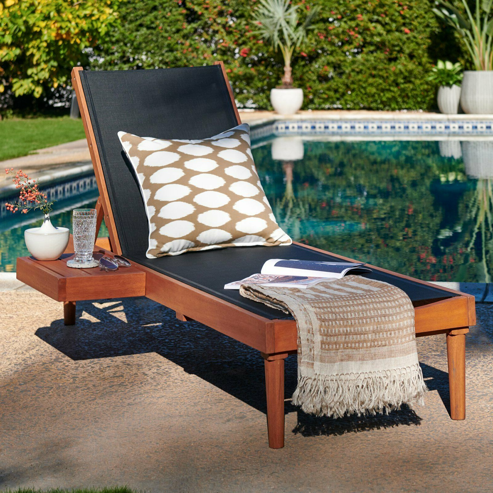 Outdoor Sling Eucalyptus Chaise Loungers For Best And Newest Natural Eucalyptus Wood Black Sling Chaise Lounge Outdoor Pool Lounger W/  Table (View 13 of 25)