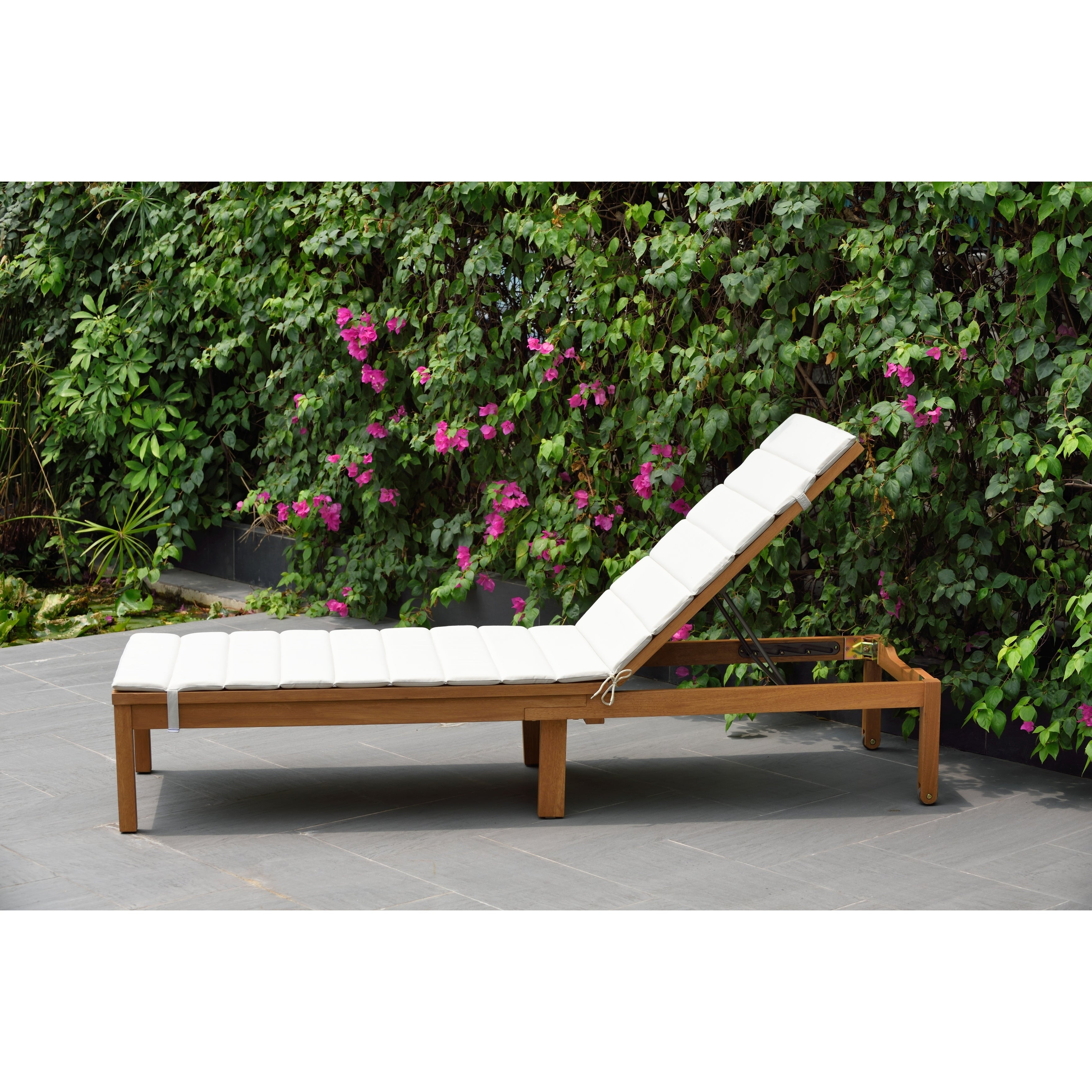 Outdoor Sling Eucalyptus Chaise Loungers With Regard To Widely Used Amazonia Katia Eucalyptus/teak Finish Outdoor Chaise Lounger With Grey  Cushion (View 17 of 25)