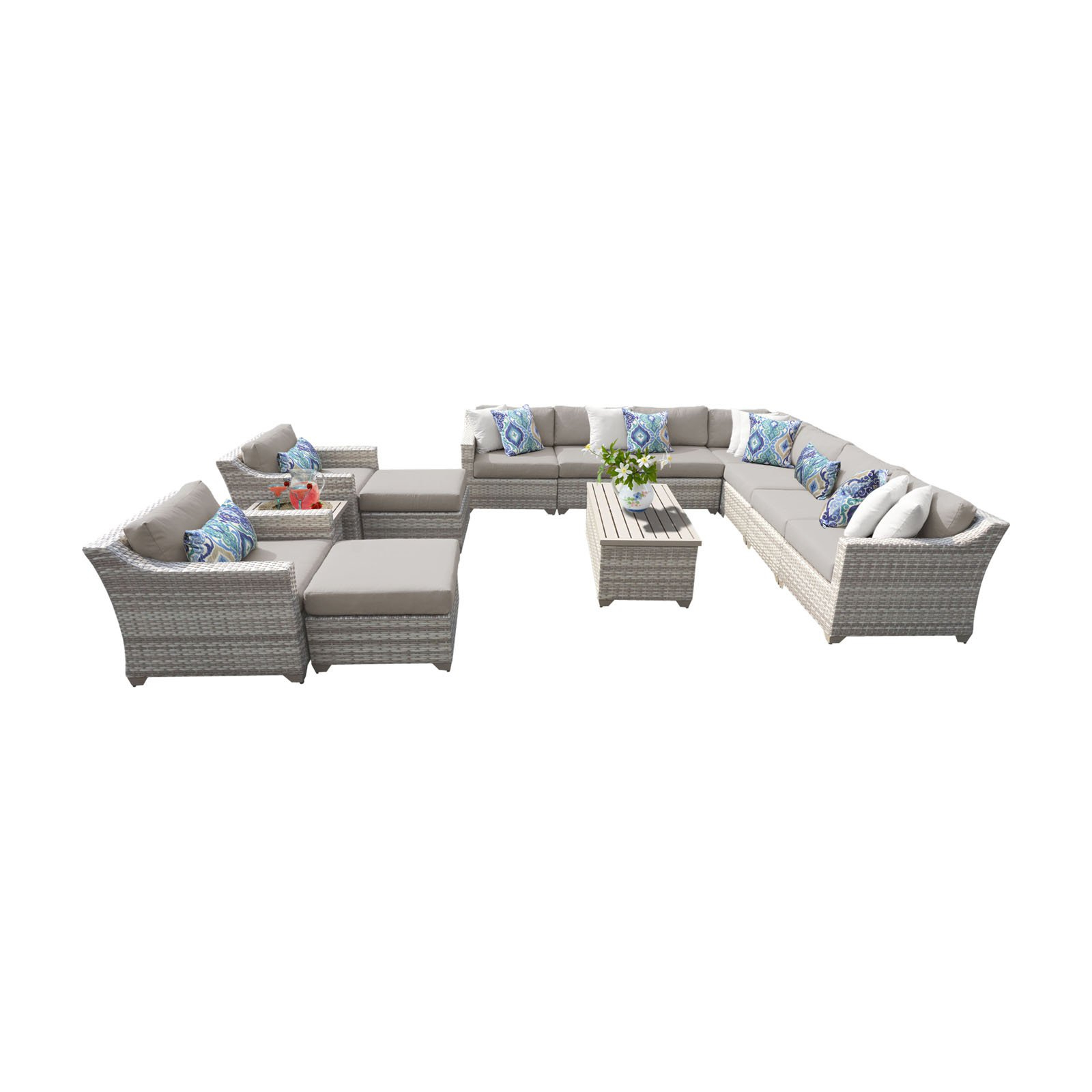 Outdoor Tk Classics Fairmont All Weather Wicker 13 Piece With Regard To Most Recent Outdoor 13 Piece Wicker Patio Sets With Cushions (Gallery 10 of 25)