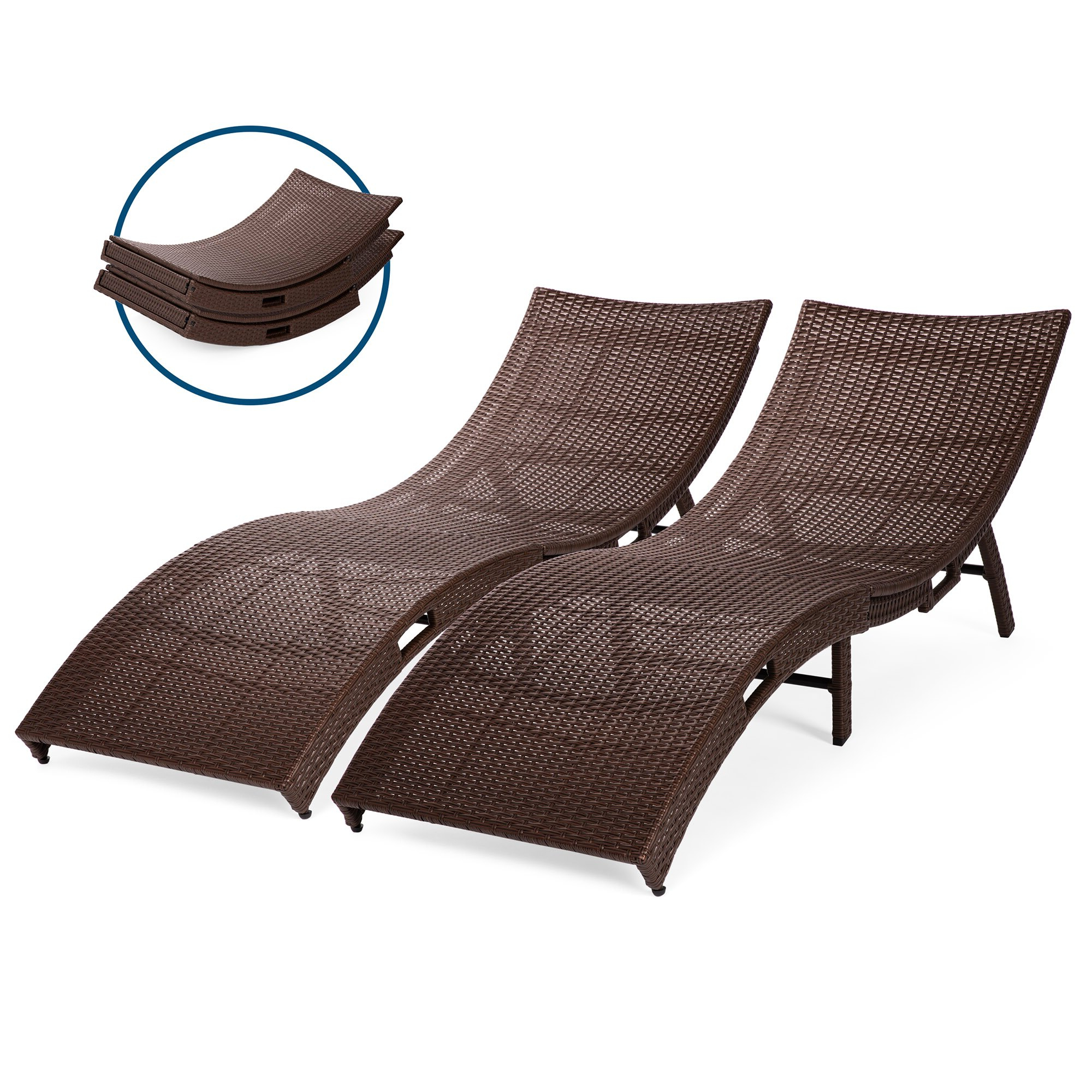 Outdoor Wicker Chaise Lounge Chairs Pertaining To 2020 Best Choice Products Set Of 2 Patio All Weather Folding Wicker Chaise Lounge Chairs W/ Handles, No Assembly Required (View 7 of 25)