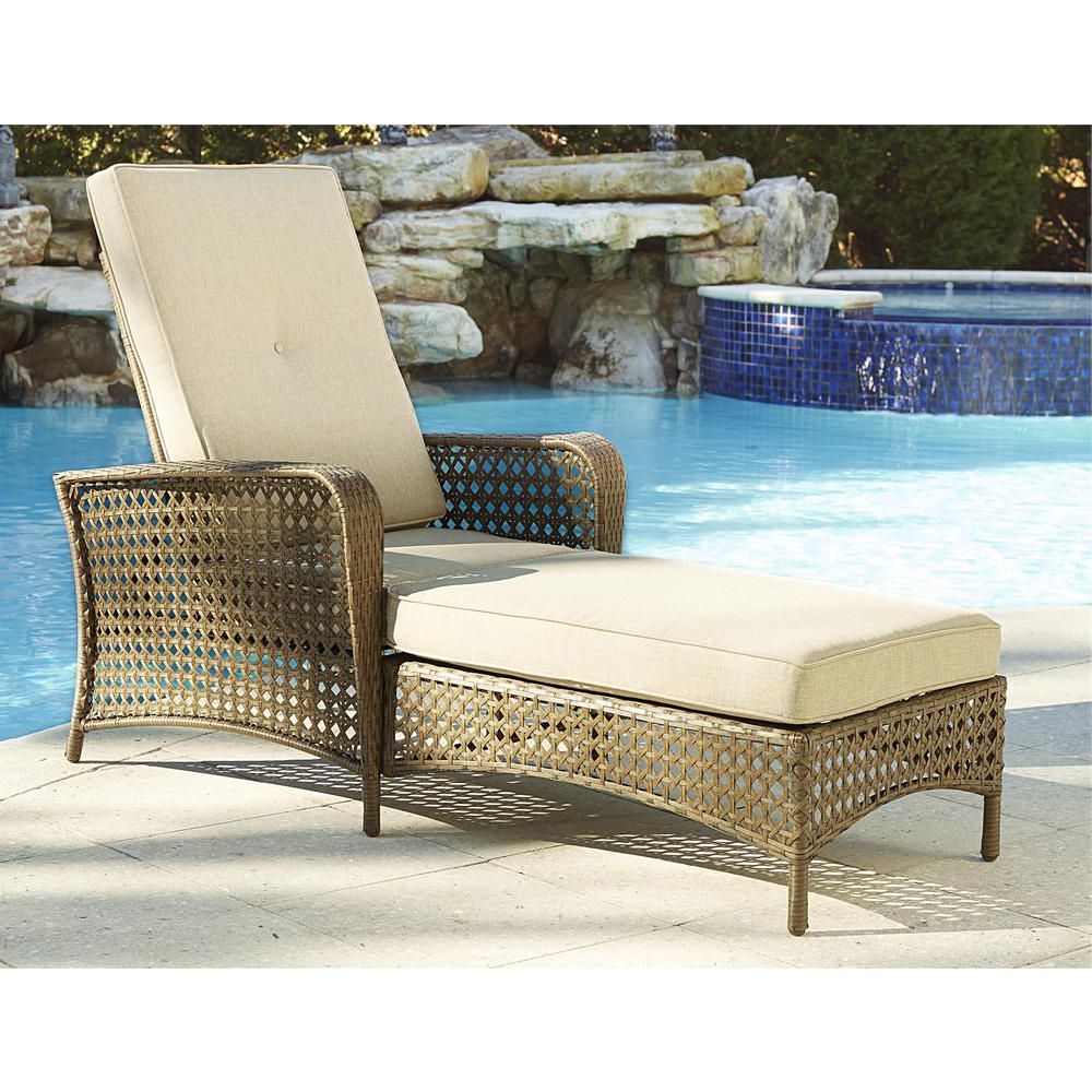 Outdoor Wicker Chaise Lounge Chairs Throughout Most Current Cosco Lakewood Ranch Brown Adjustable Steel Woven Patio Wicker Outdoor Chaise Lounge Chair With Brown Cushion (View 4 of 25)