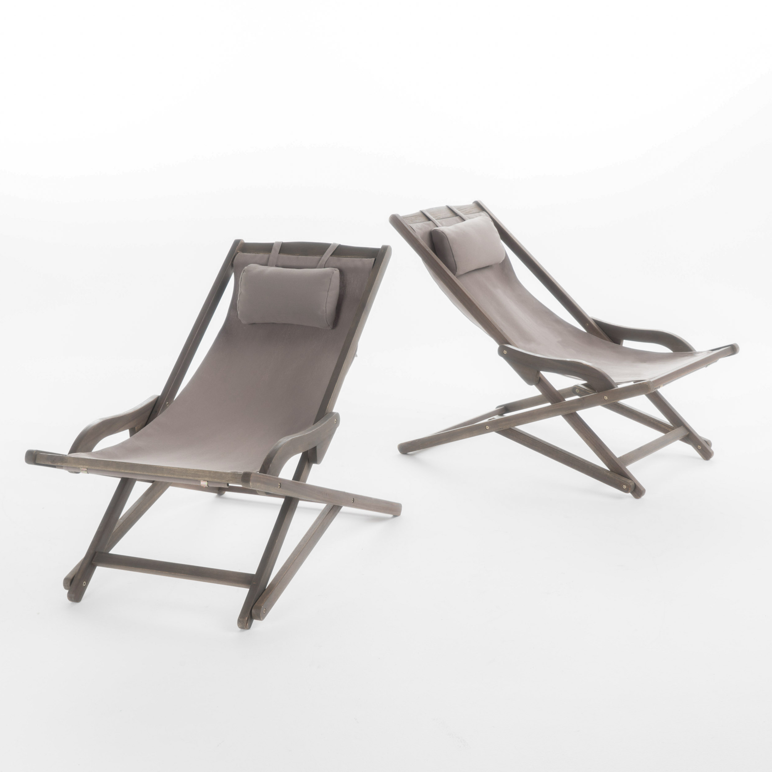 Outdoor Wood Sling Chairs In Popular Northland Outdoor Wood And Canvas Sling Chair, Set Of 2, Grey (View 12 of 25)