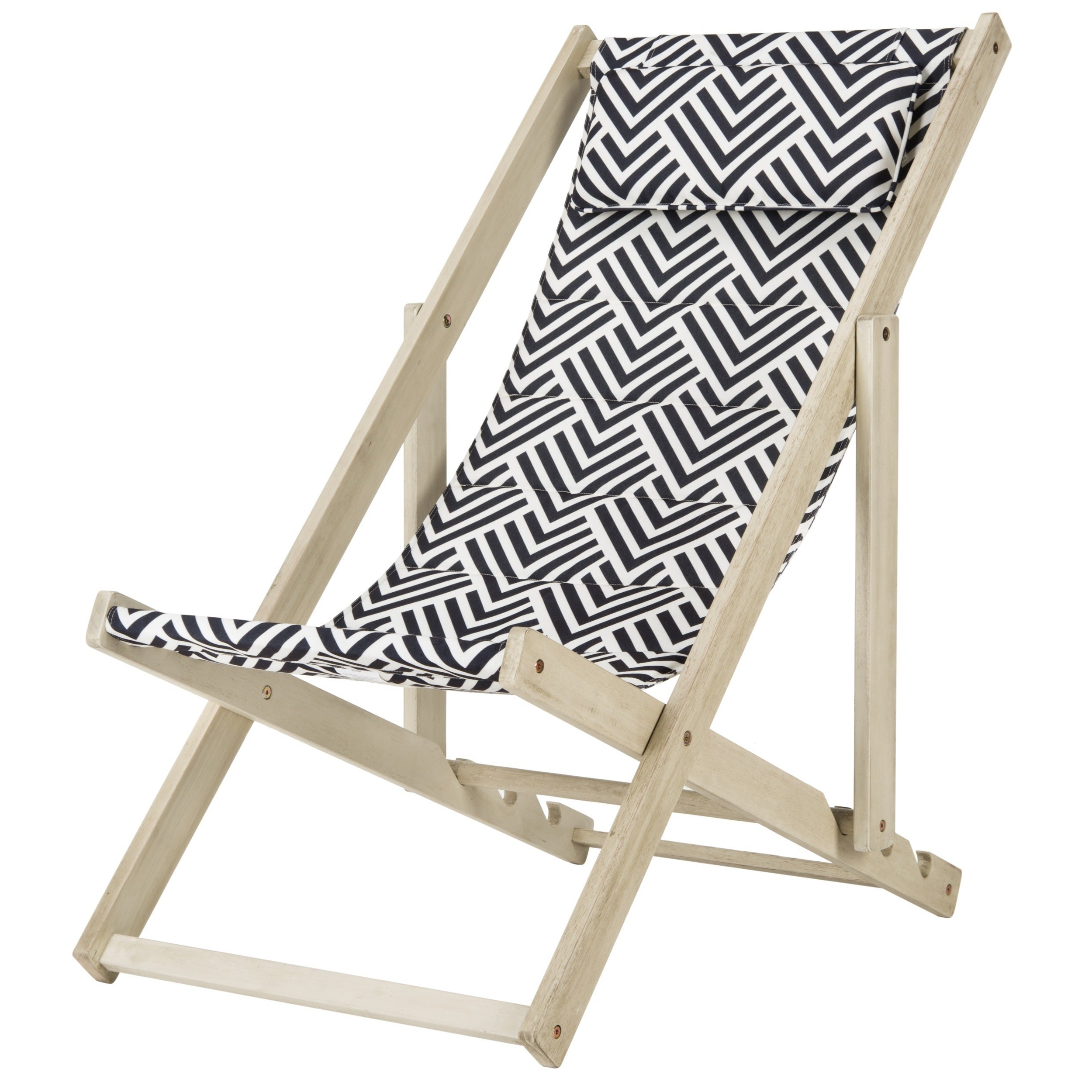 Outdoor Wood Sling Chairs Throughout Preferred Safavieh Outdoor Living Rive White Wash/ Navy Foldable Sling Chair (View 16 of 25)