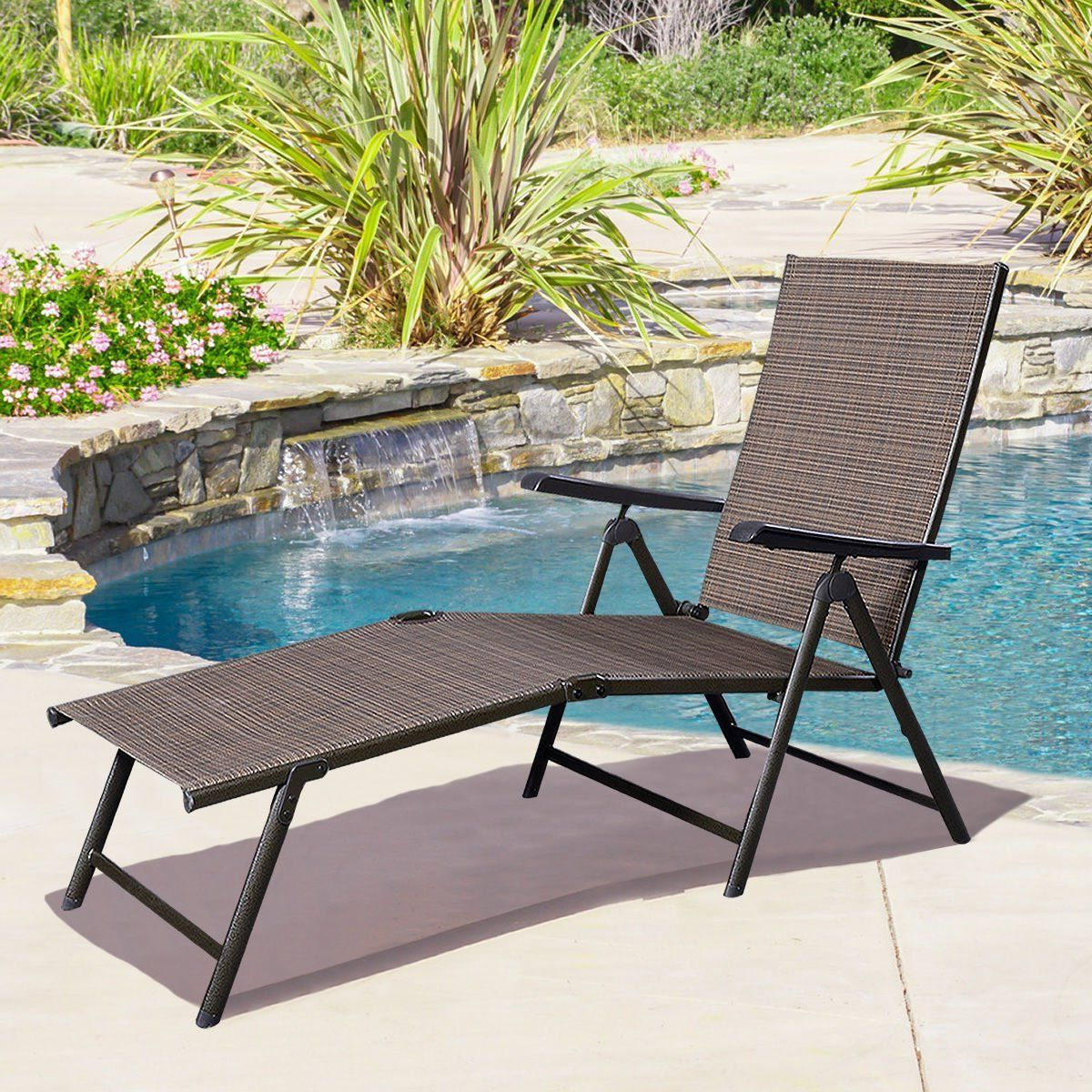 Outdoor Yard Pool Recliner Folding Lounge Table Chairs Regarding Best And Newest Adjustable Pool Chaise Lounge Chair Recliner Outdoor Patio (View 7 of 25)