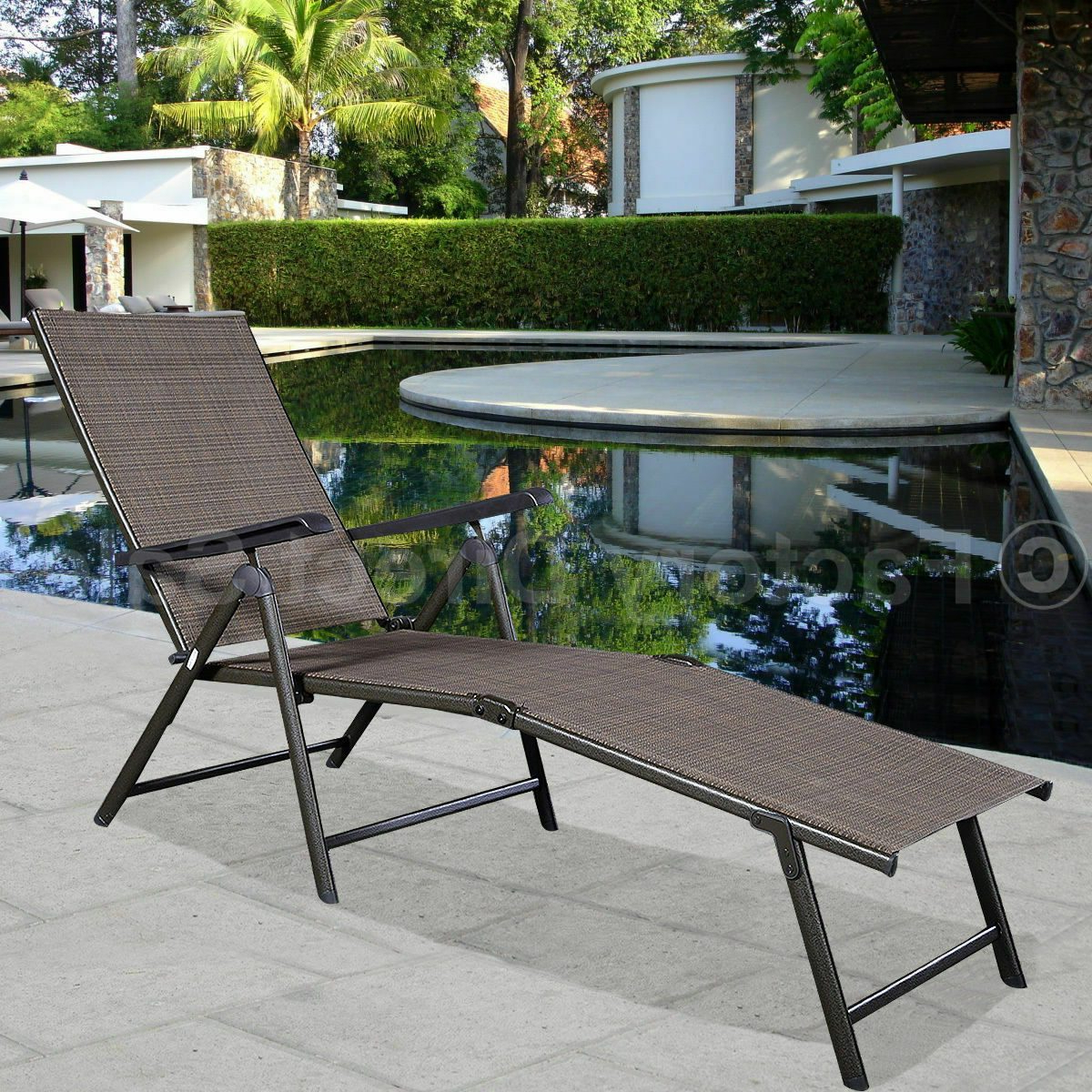 Outdoor Yard Pool Recliner Folding Lounge Table Chairs Throughout Most Current Citycw Adjustable Pool Chaise Lounge Chair Recliner Textilene Outdoor Patio Furniture (Gallery 17 of 25)