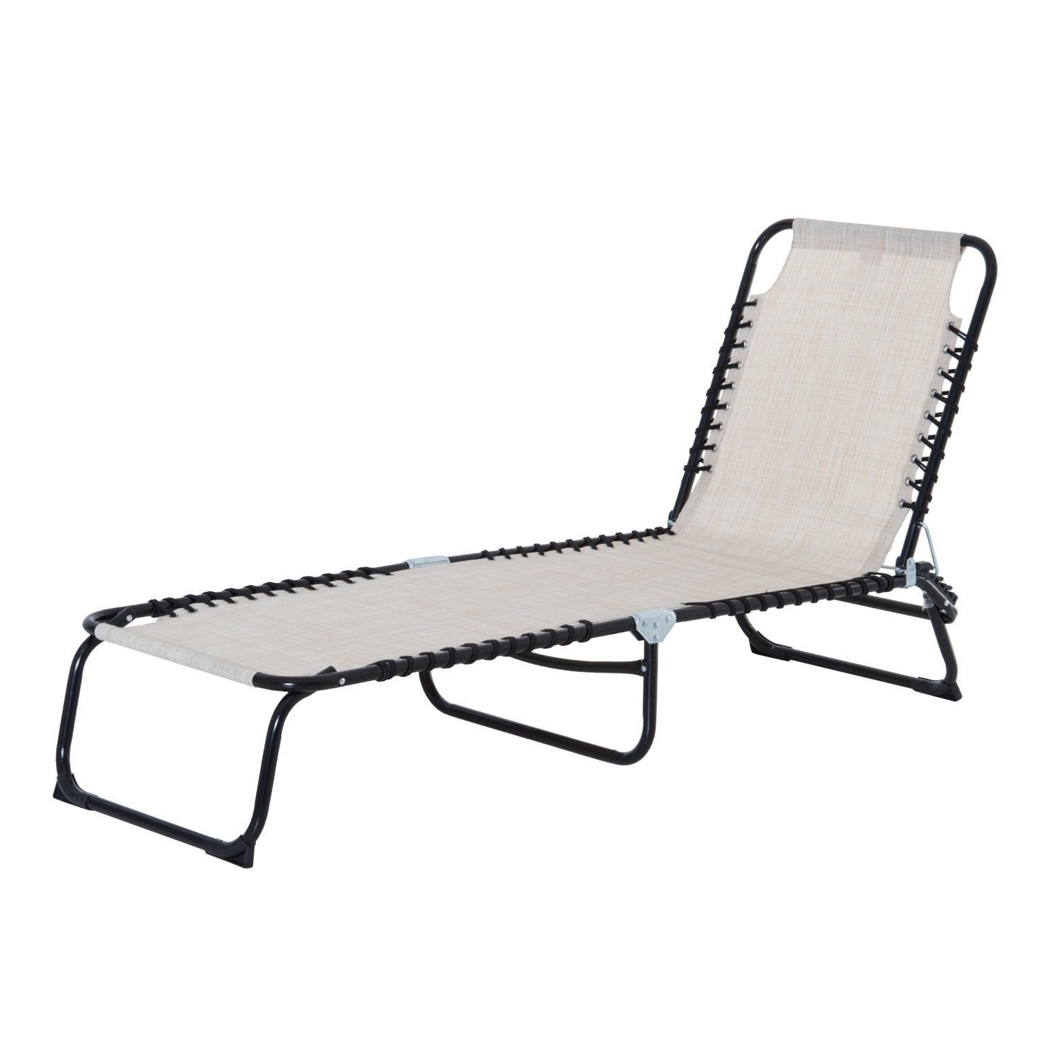 Outsunny 3 Position Portable Reclining Beach Chaise Lounge Folding Chair  Outdoor Patio – Cream White Inside Current Reclining Sling Chaise Lounges (View 13 of 25)