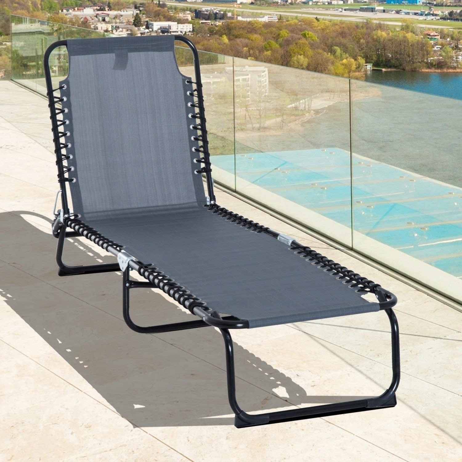 Outsunny 3 Position Portable Reclining Beach Chaise Lounge Folding Chair Outdoor Patio – Grey Within Fashionable 3 Position Portable Reclining Beach Chaise Lounges (View 15 of 25)