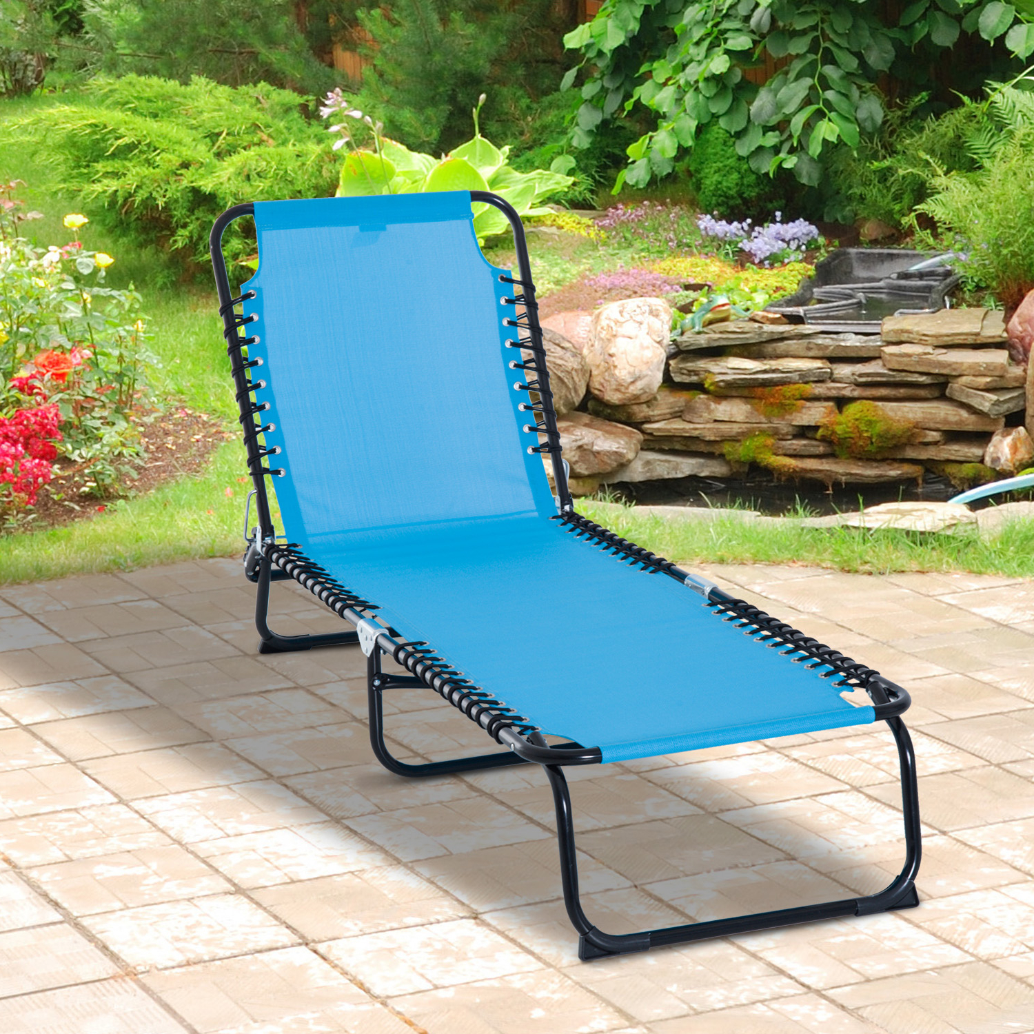 Outsunny 3 Position Portable Reclining Beach Chaise Lounge Folding Chair Outdoor Patio – Light Blue Throughout Popular Portable Reclining Beach Chaise Lounge Folding Chairs (View 6 of 25)