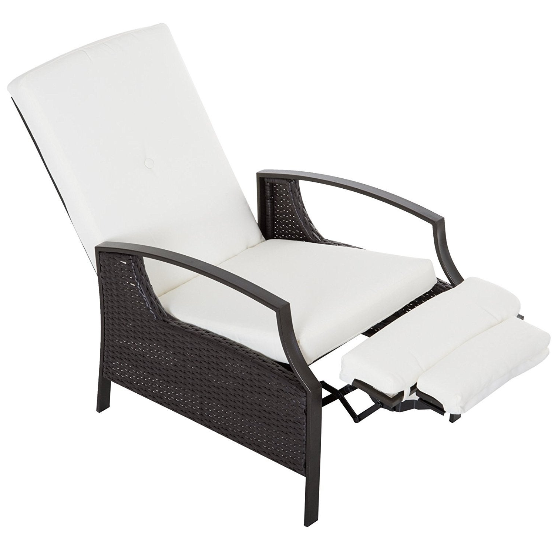 Outsunny Brown/white Outdoor Rattan Wicker Recliner Chair Regarding Popular Outdoor Adjustable Rattan Wicker Recliner Chairs With Cushion (View 2 of 25)