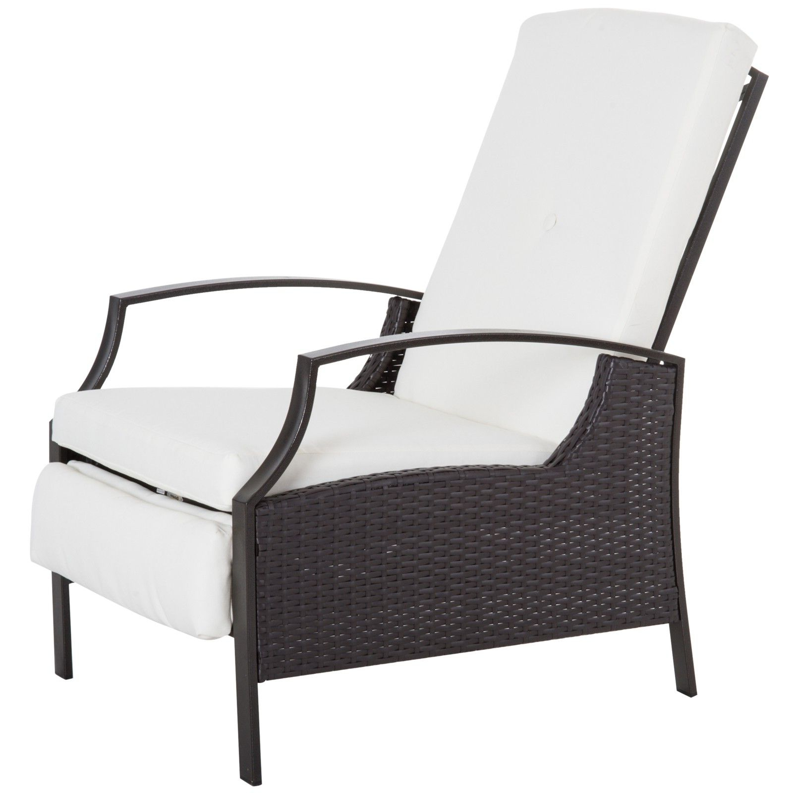 Outsunny Outdoor Rattan Recliner Chair With Cushion – Dark Regarding Most Recent Outdoor Adjustable Rattan Wicker Recliner Chairs With Cushion (Gallery 6 of 25)
