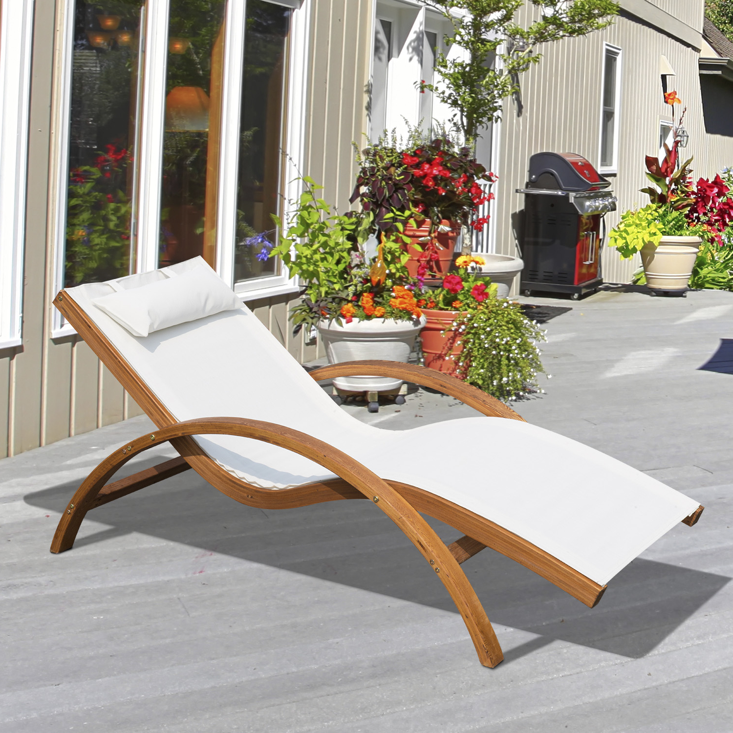 Outsunny Outdoor Wood Sling Chaise Lounge Reclining Garden Mesh Lounger  Patio Chair With Headrest Cream Within Well Liked Reclining Sling Chaise Lounges (View 14 of 25)