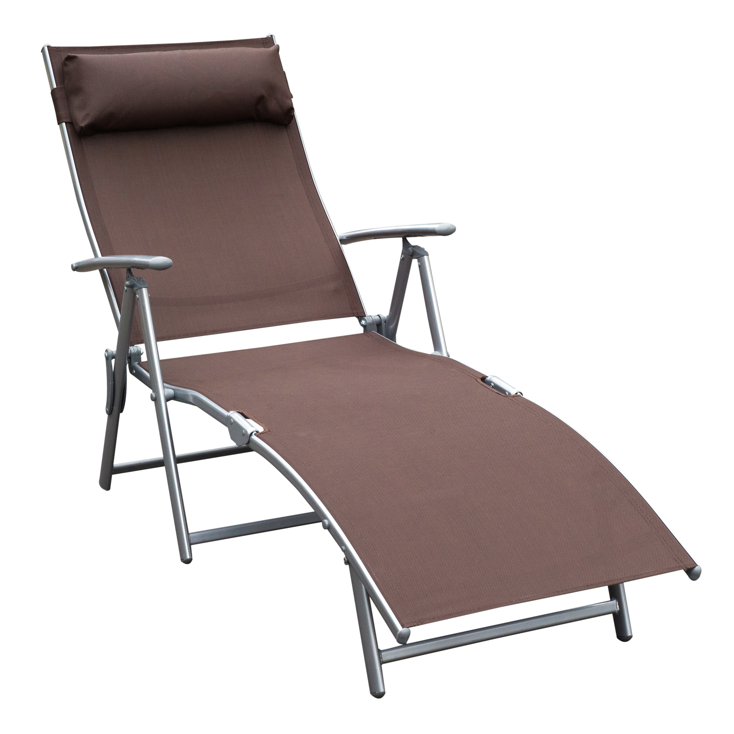 Outsunny Sling Fabric Folding Patio Reclining Outdoor Deck Chaise Lounge Chair With Cushion – Brown For Most Current Fabric Reclining Outdoor Chaise Lounges (View 4 of 25)