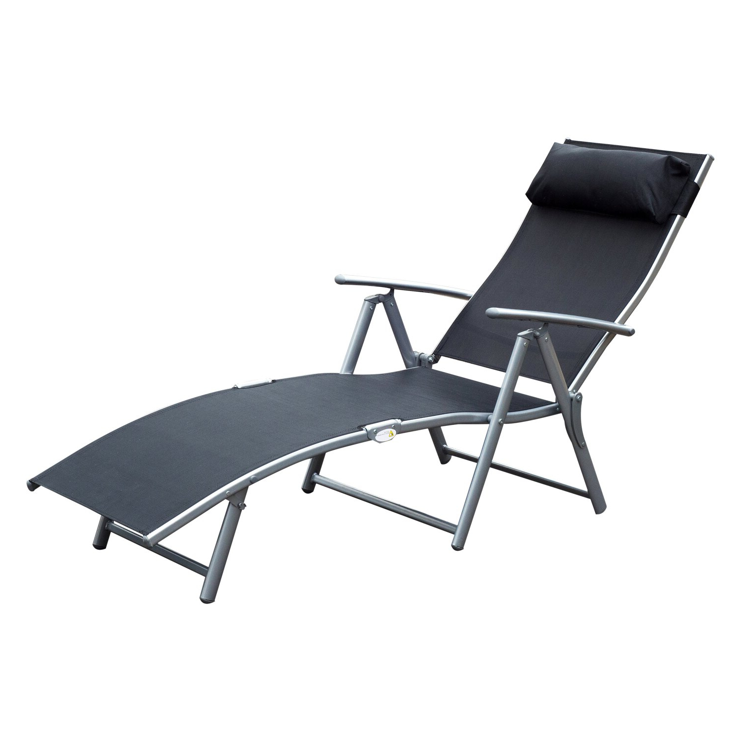 Outsunny Sling Fabric Patio Reclining Chaise Lounge Chair Folding 5  Position Adjustable Outdoor Deck With Cushion – Black In Most Popular Reclining Sling Chaise Lounges (View 15 of 25)