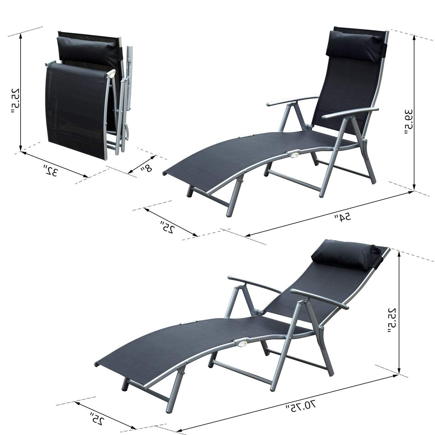 Outsunny Steel Sling Fabric Outdoor Folding Chaise Lounge Chair Recliner – Black For Well Known Steel Sling Fabric Outdoor Folding Chaise Lounges (View 9 of 25)