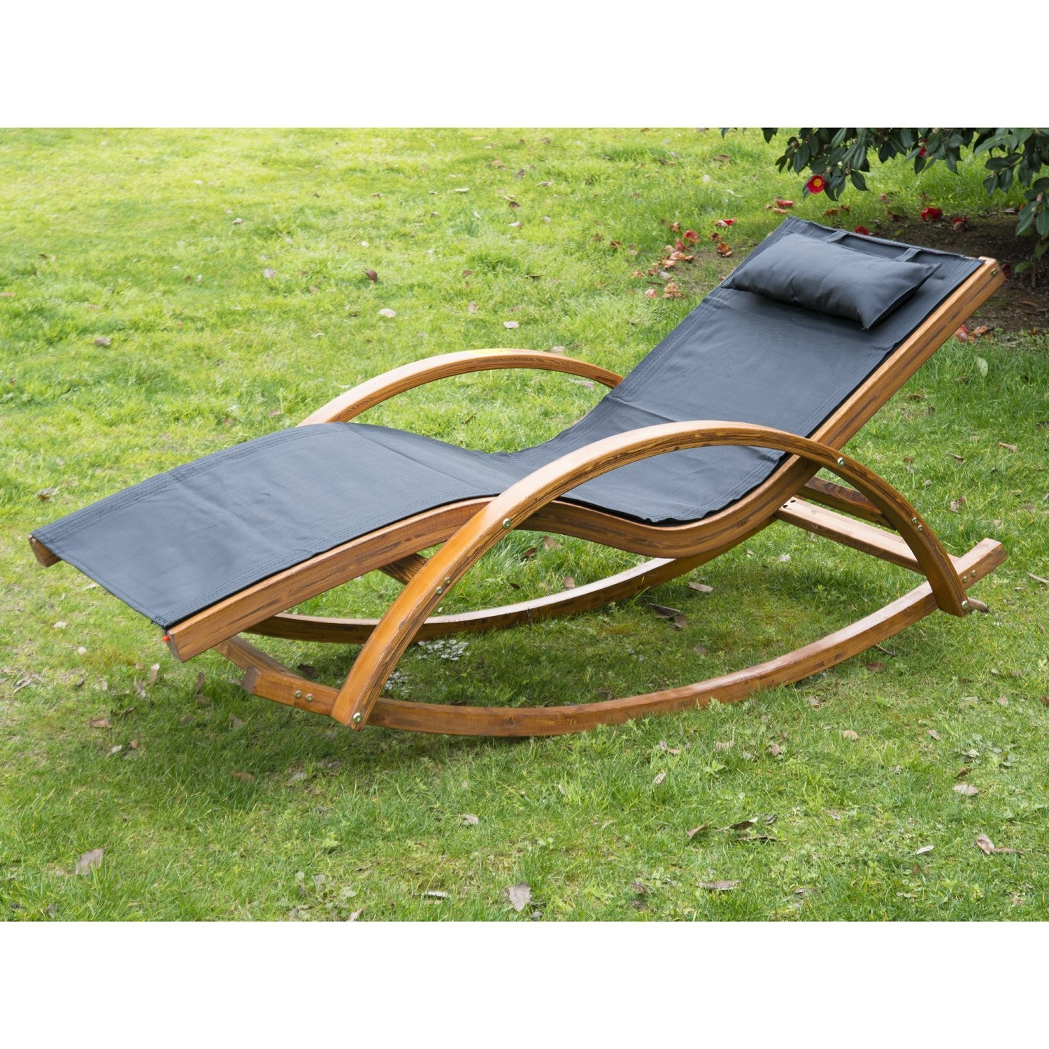 Outsunny Wooden Garden Recliner Rocker Lounger – Ideal Home Intended For Best And Newest Outdoor Rocking Loungers (View 17 of 25)