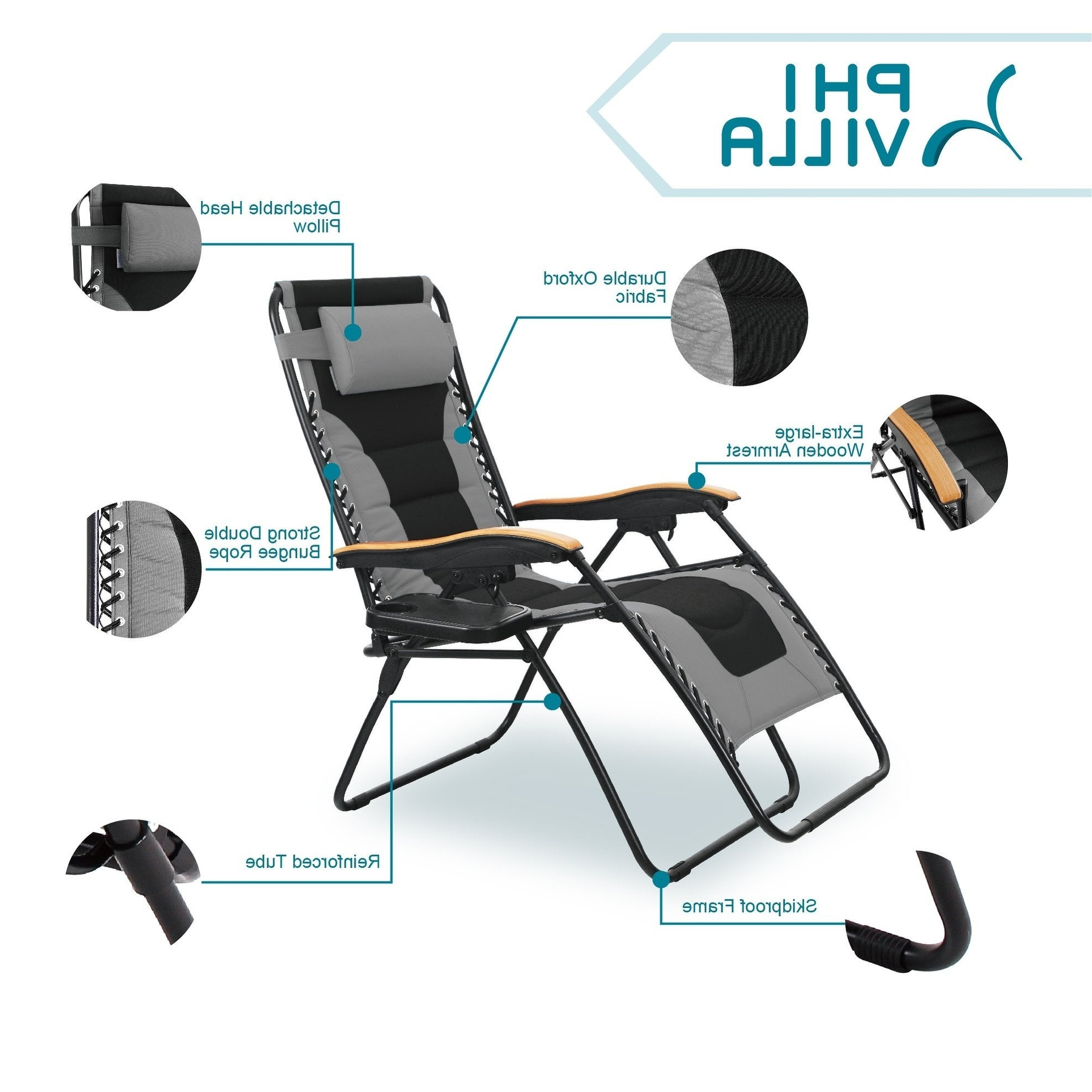 Oversize Wider Armrest Padded Lounge Chairs Intended For 2019 Phi Villa Oversize Xl Padded Zero Gravity Lounge Chair Wider Armrest Adjustable Recliner With Cup Holder, Support 350 Lbs – N/a (View 2 of 25)