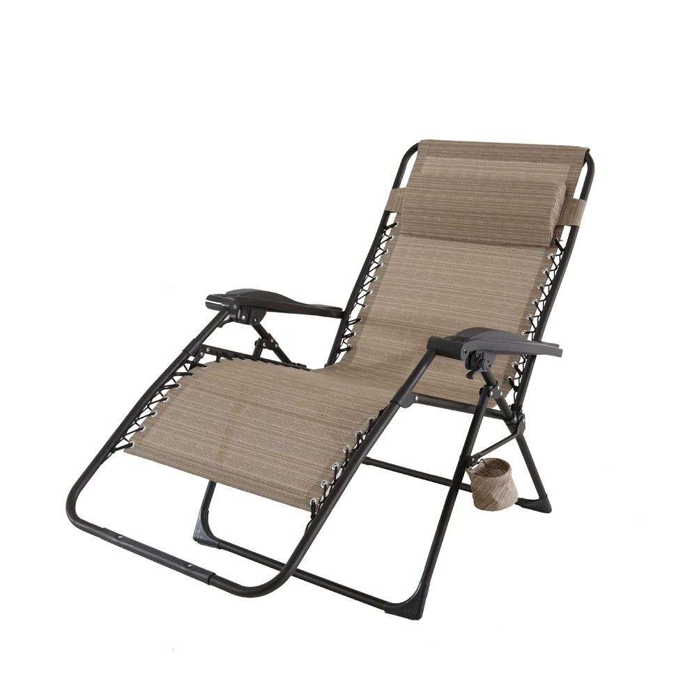 Oversize Wider Armrest Padded Lounge Chairs Regarding Well Liked Hampton Bay Mix And Match Oversized Zero Gravity Sling Outdoor Chaise Lounge Chair In Cafe (Gallery 4 of 25)