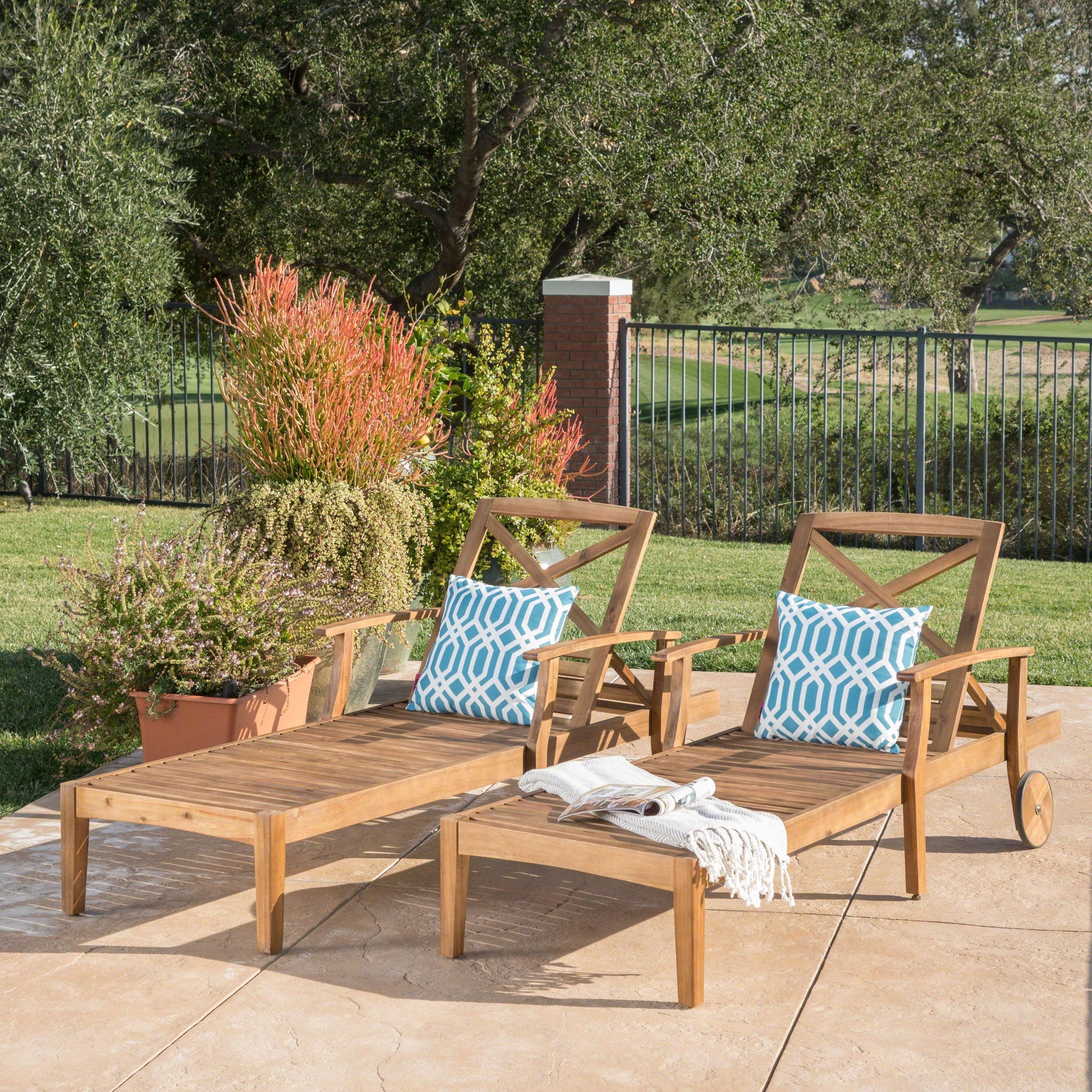 Perla Outdoor Acacia Wood Chaise Lounge (Set Of 2)Christopher Knight Home Inside Recent Perla Outdoor Acacia Wood Chaise Lounges (View 8 of 25)