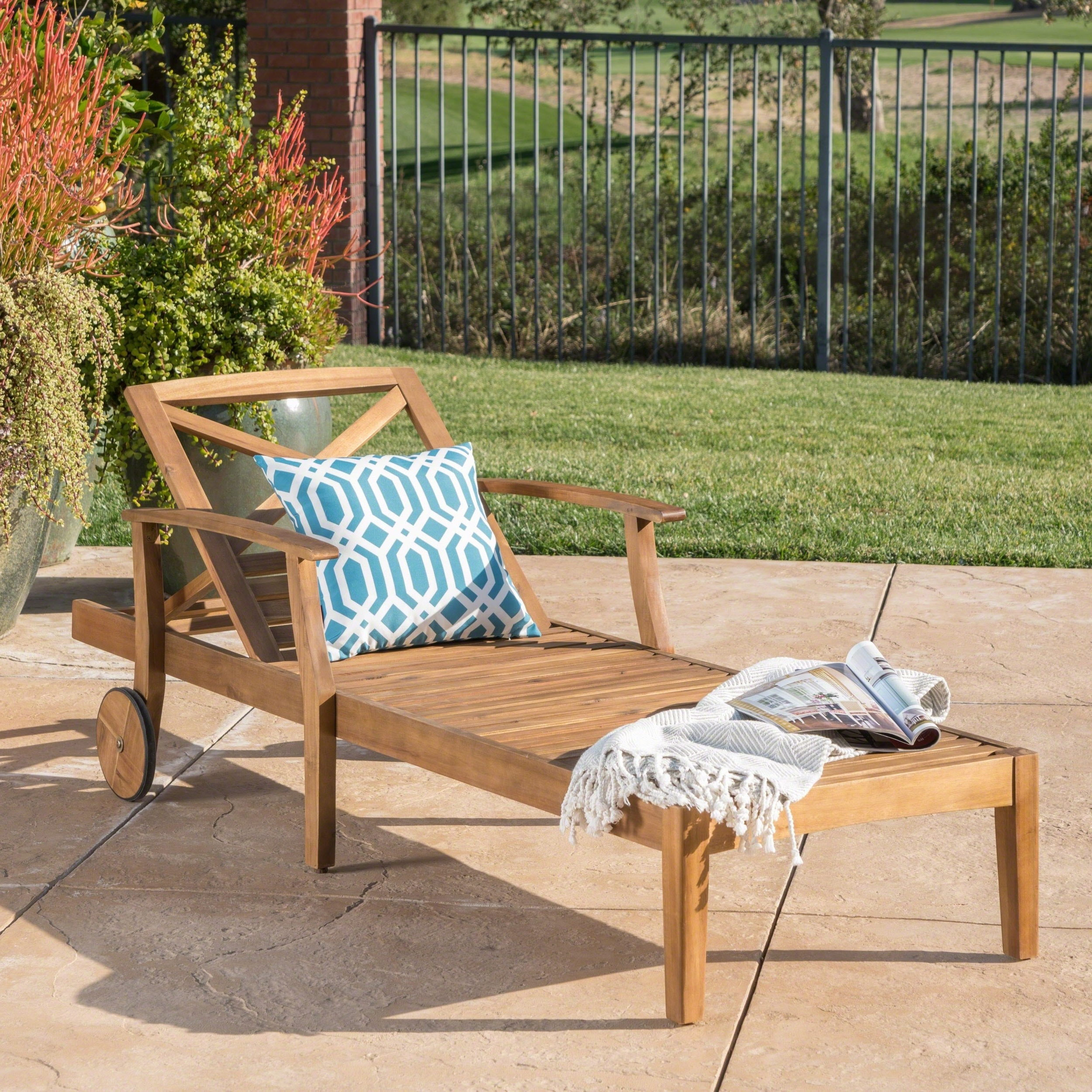 Perla Outdoor Acacia Wood Chaise Lounge With Cushion For Most Up To Date Christopher Knight Home Perla Outdoor Acacia Wood Chaise Lounge By (View 8 of 25)