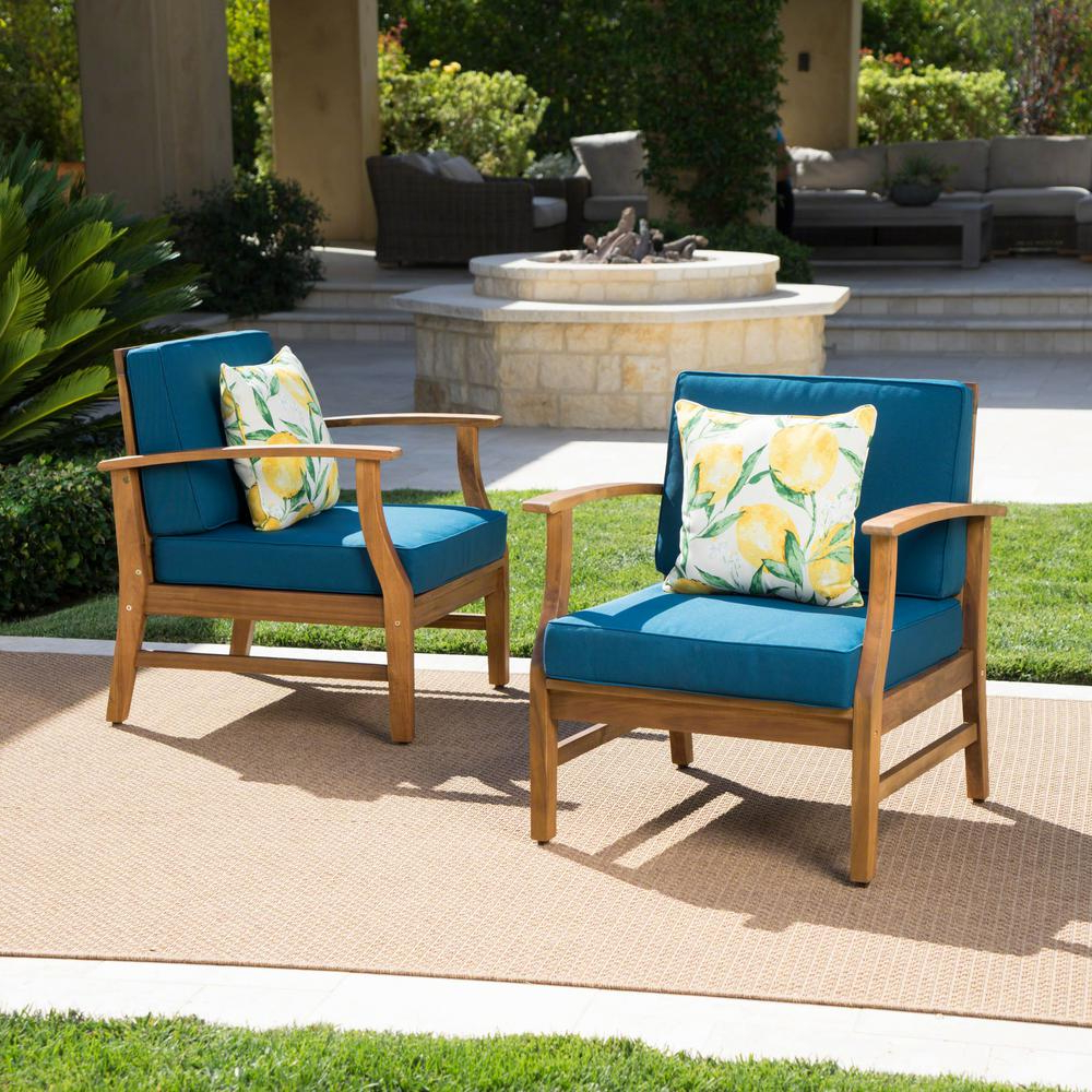 Perla Outdoor Acacia Wood Chaise Lounge With Cushion In Newest Noble House Perla Teak Finish Wood Outdoor Club Lounge Chairs With Blue  Cushions (2 Pack) (Gallery 18 of 25)