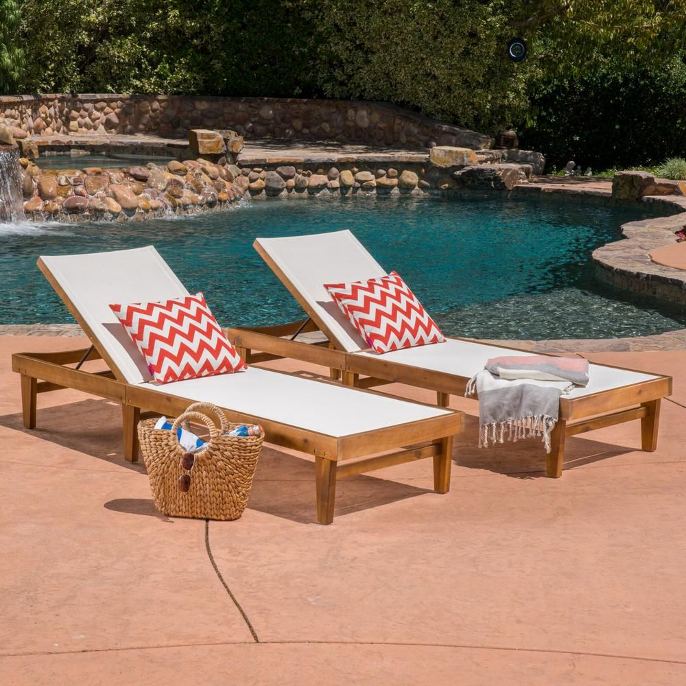 Perla Outdoor Acacia Wood Chaise Lounge With Cushion Inside Widely Used Noble House Summerland White And Teak Brown Wood Adjustable (View 20 of 25)