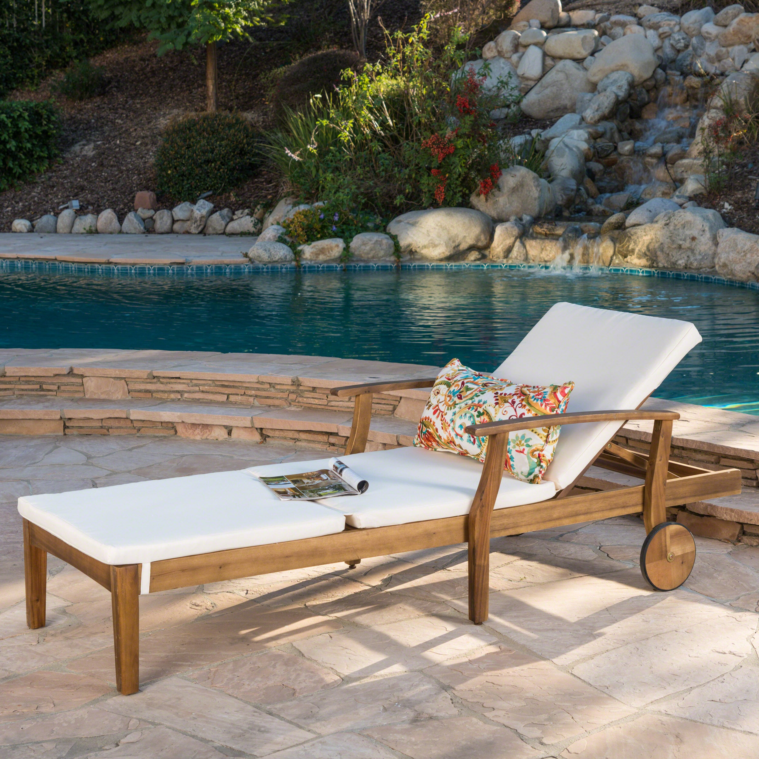 Perla Outdoor Acacia Wood Chaise Lounge With Cushion Pertaining To Preferred Perla Outdoor Acacia Wood Chaise Lounge With Cushionchristopher Knight  Home (View 18 of 25)