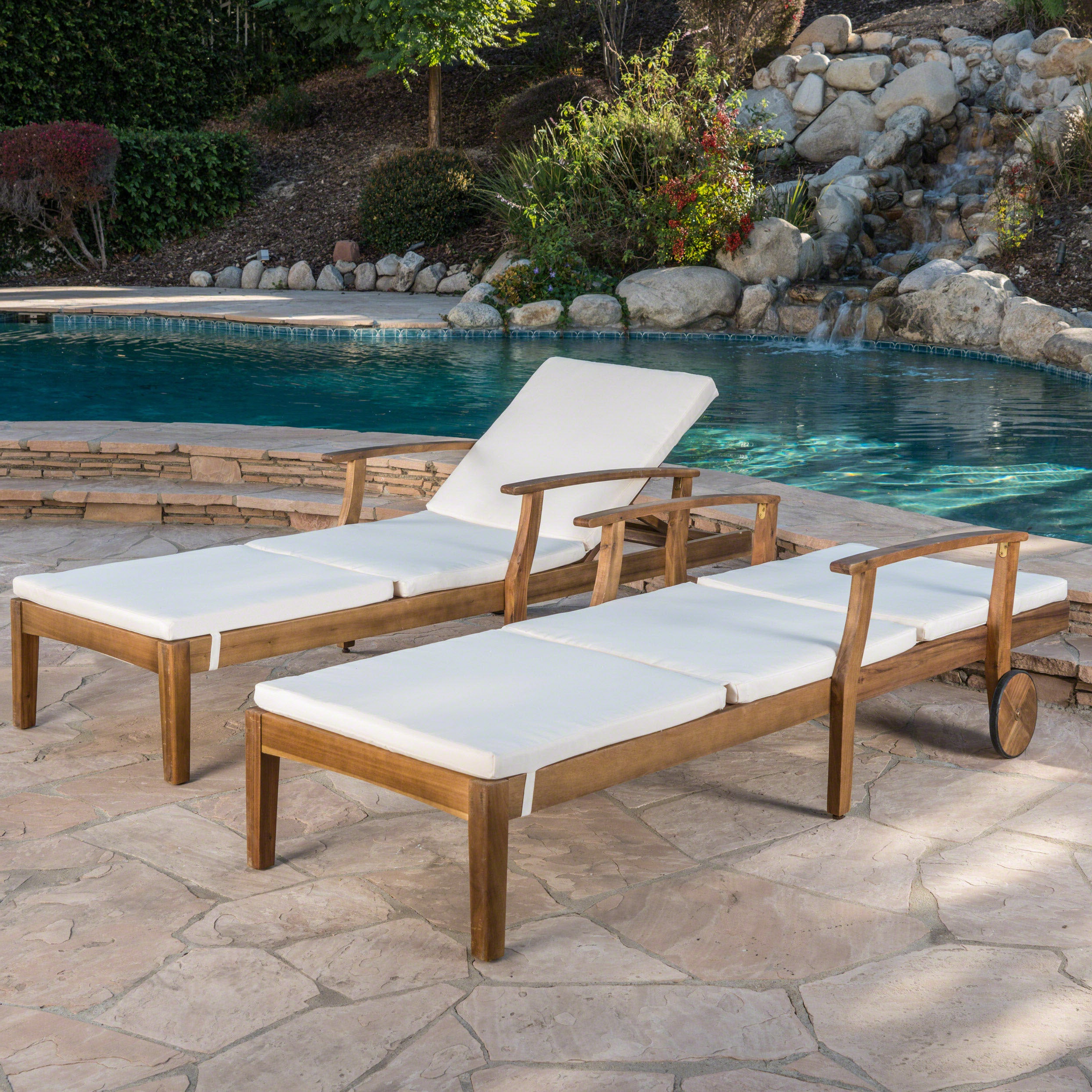Perla Outdoor Acacia Wood Chaise Lounge With Cushion (Set Of 2) Christopher Knight Home For Latest Oudoor Modern Acacia Wood Chaise Lounges With Cushion (Gallery 1 of 25)