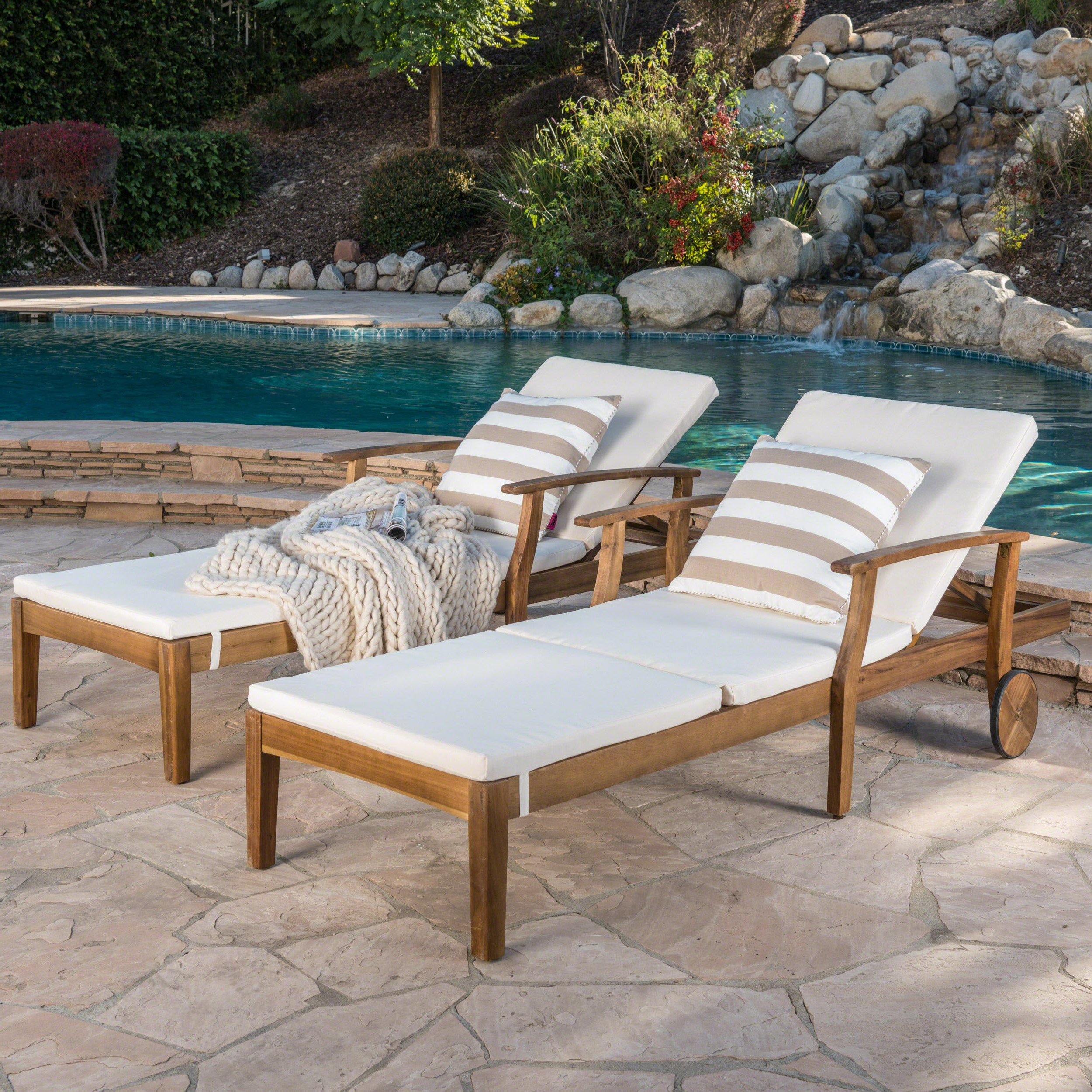 Perla Outdoor Acacia Wood Chaise Lounge With Cushion (Set Of 2) Christopher Knight Home Within Fashionable Outdoor 3 Piece Acacia Wood Chaise Lounge Sets (Gallery 7 of 25)