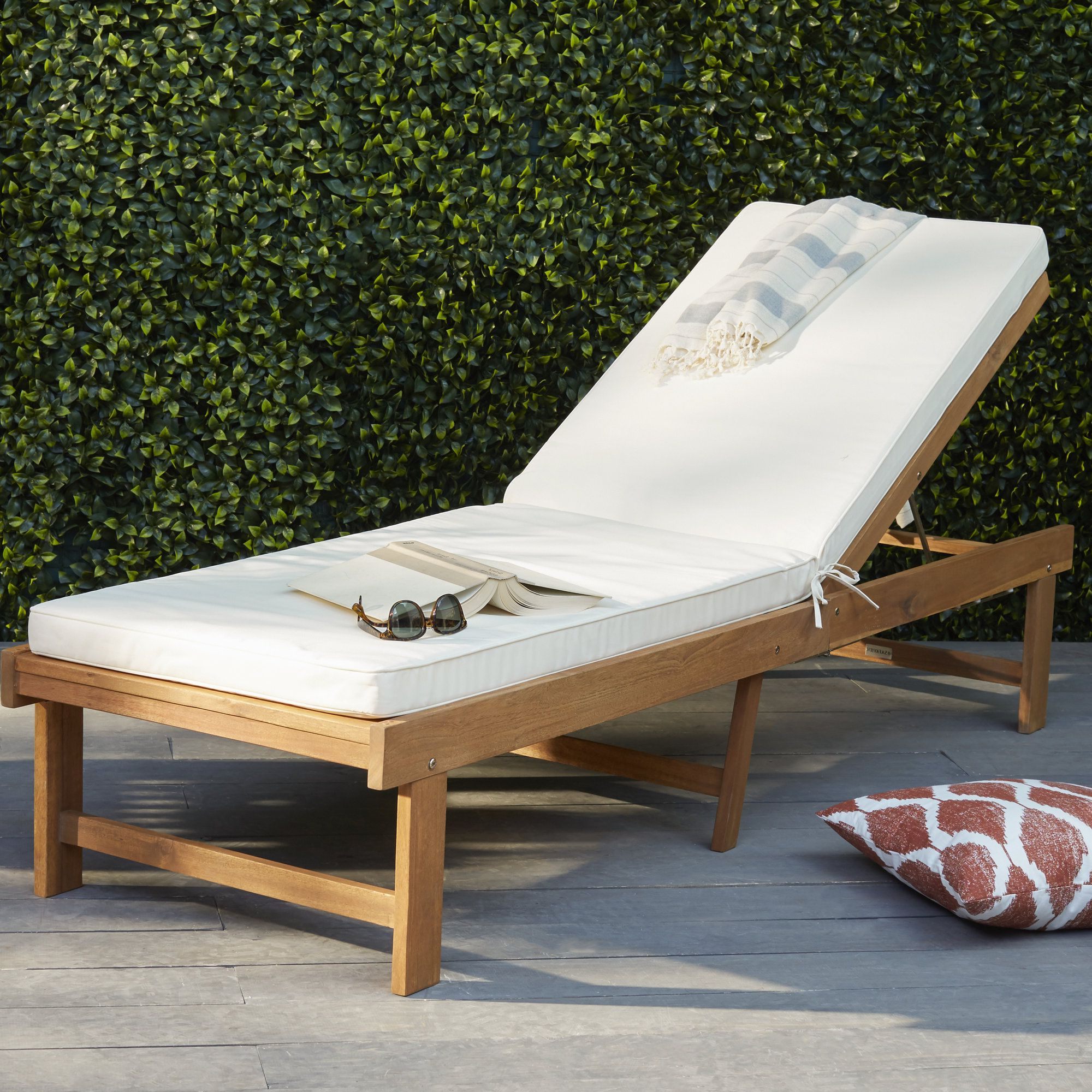 Perla Outdoor Acacia Wood Chaise Lounge With Cushion Within Well Known Matheny Reclining Chaise Lounge With Cushion (View 20 of 25)