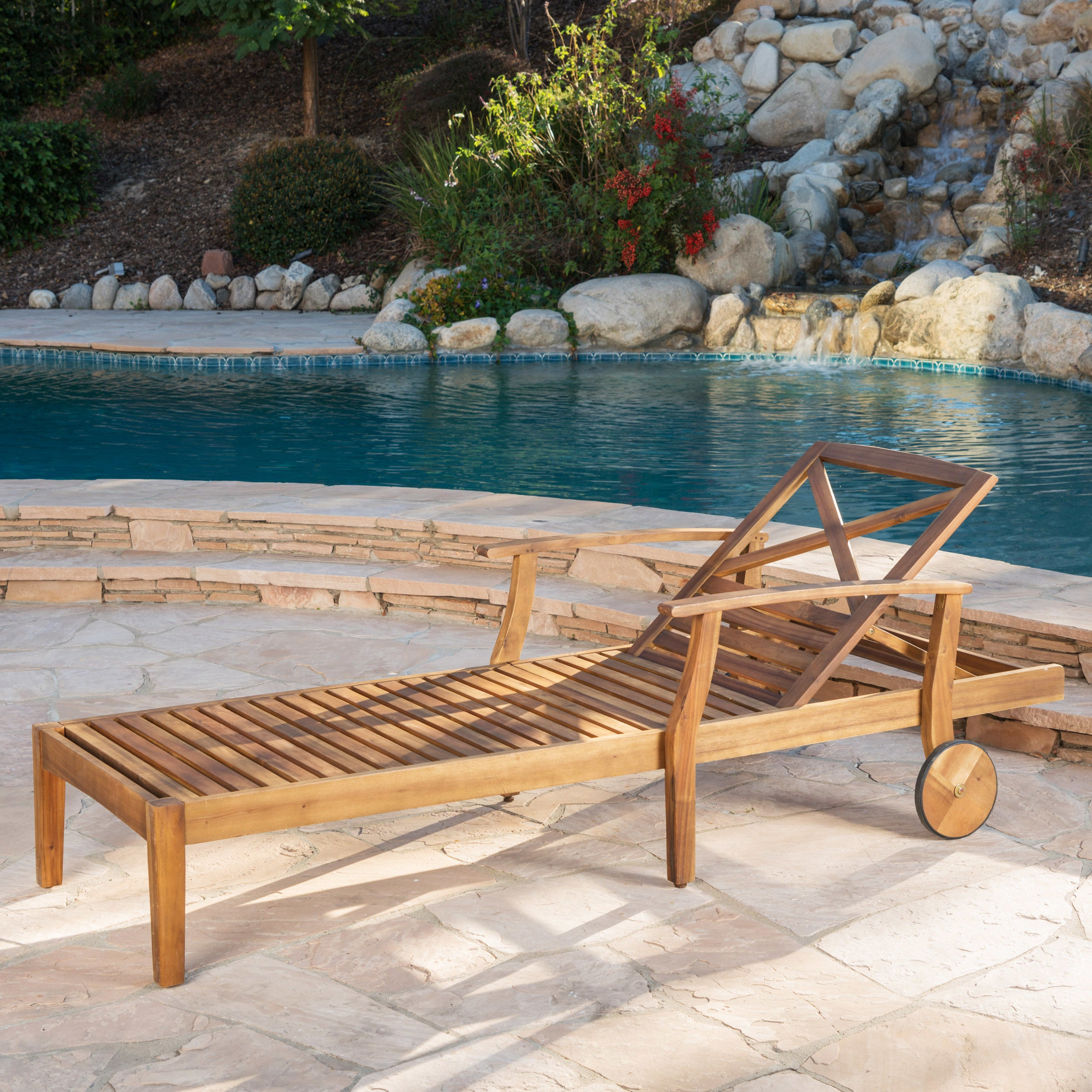 Perla Outdoor Acacia Wood Chaise Lounge With Cushionchristopher Knight  Home Inside Latest Perla Outdoor Acacia Wood Chaise Lounge With Cushion (Gallery 9 of 25)