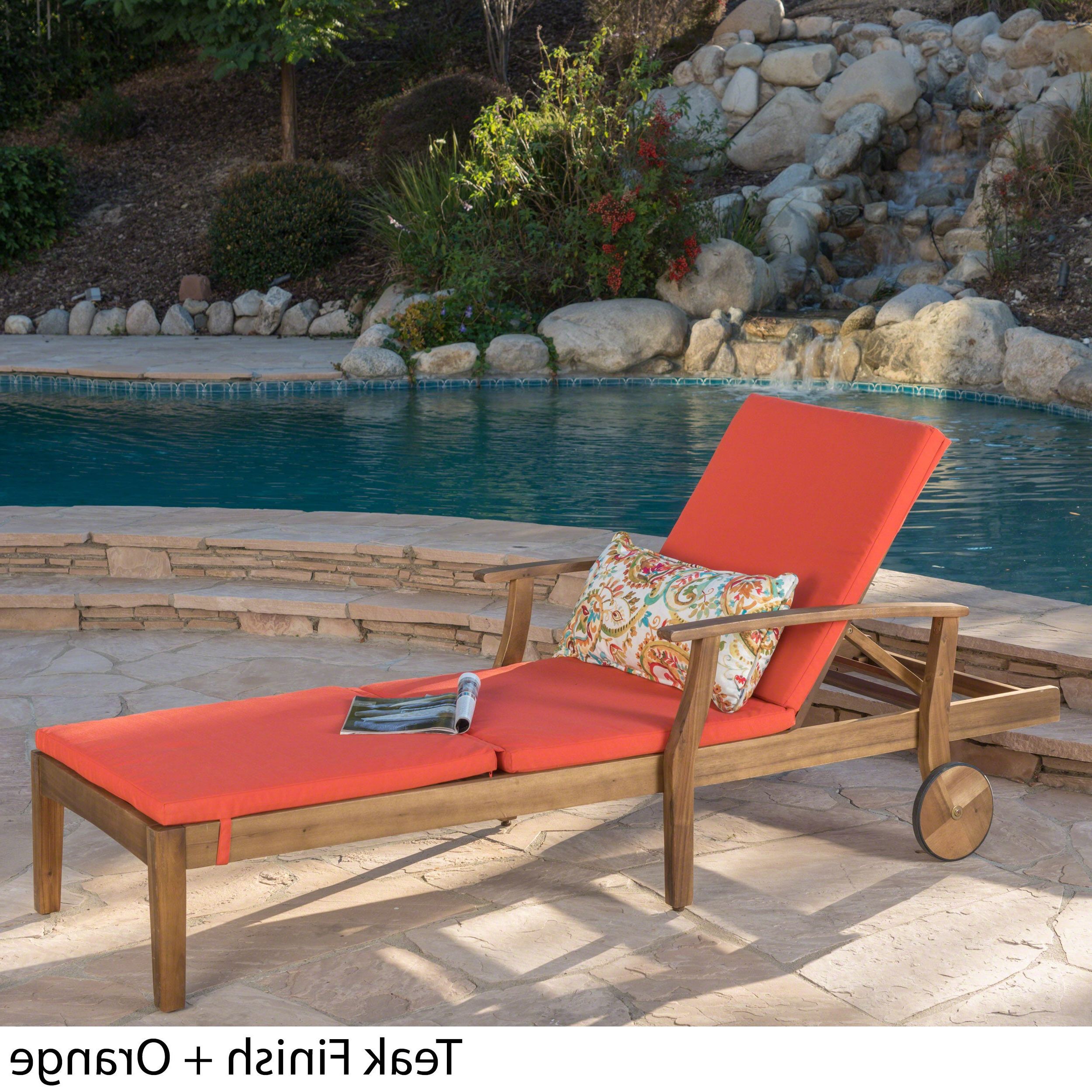 Perla Outdoor Acacia Wood Chaise Lounge With Cushionchristopher Knight Home Intended For Most Recent Havenside Home Surfside Rutkoske Outdoor Wood Chaise Lounges (View 24 of 25)