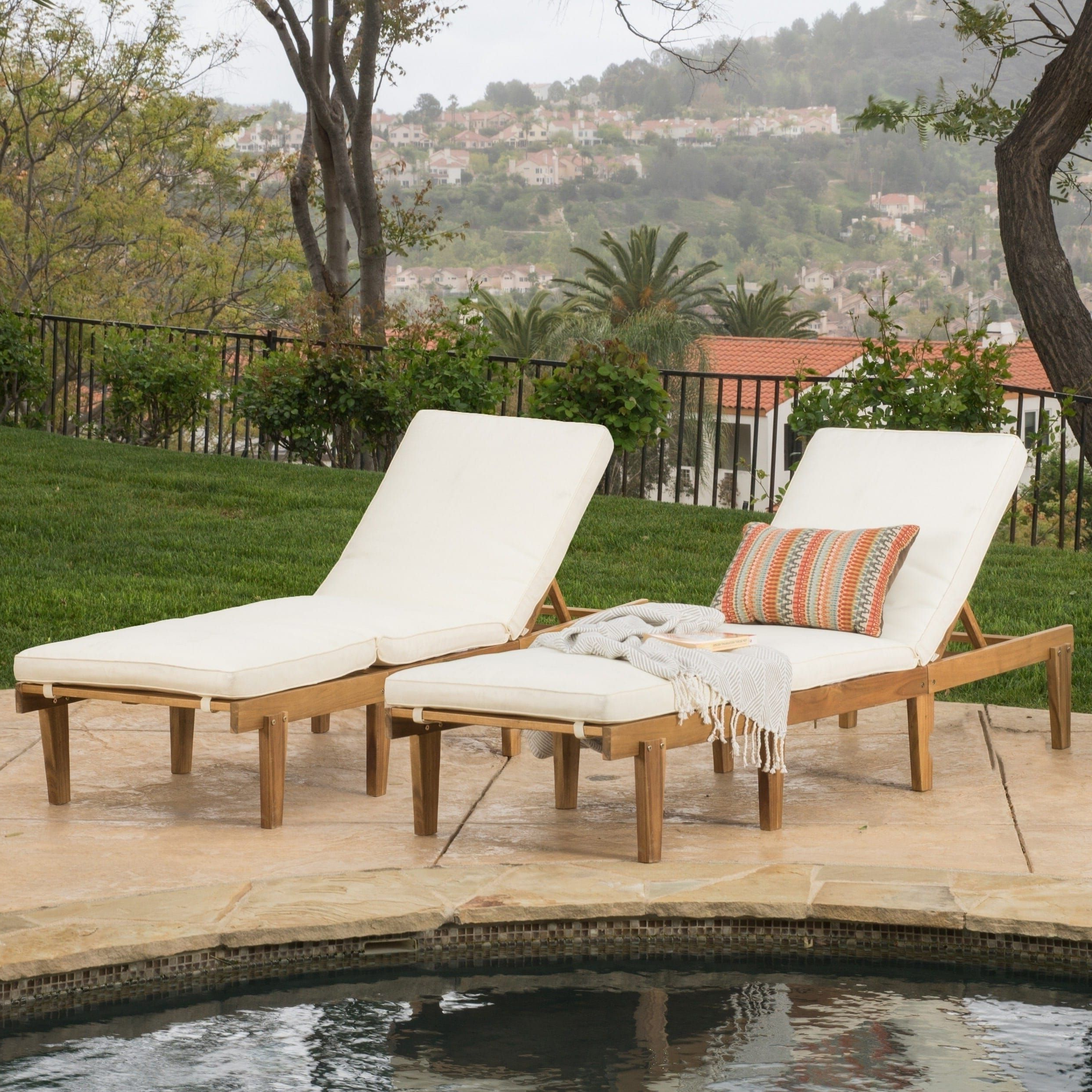 Perla Outdoor Acacia Wood Chaise Lounges Inside Famous Ariana Outdoor Acacia Wood Chaise Lounge With Cushion (Set (View 14 of 25)