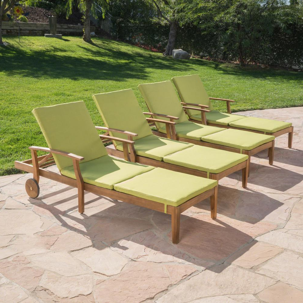 Perla Outdoor Acacia Wood Chaise Lounges With Regard To Famous Noble House Perla Brown Wood Outdoor Chaise Lounge With Green Cushions (Set Of 4) (View 7 of 25)