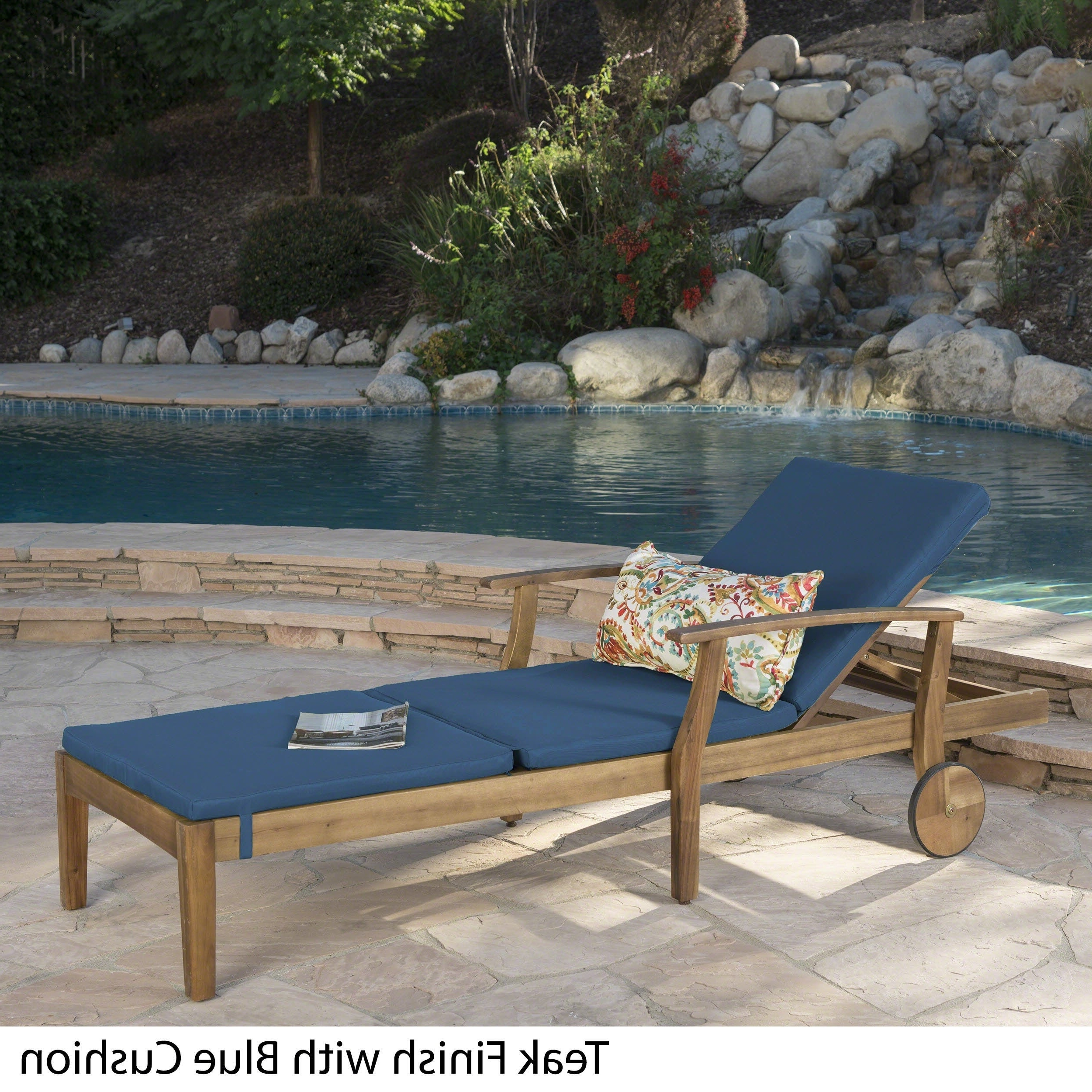 Perla Outdoor Acacia Wood Chaise Lounges Within Recent Perla Outdoor Acacia Wood Chaise Lounge With Cushionchristopher Knight Home (View 5 of 25)