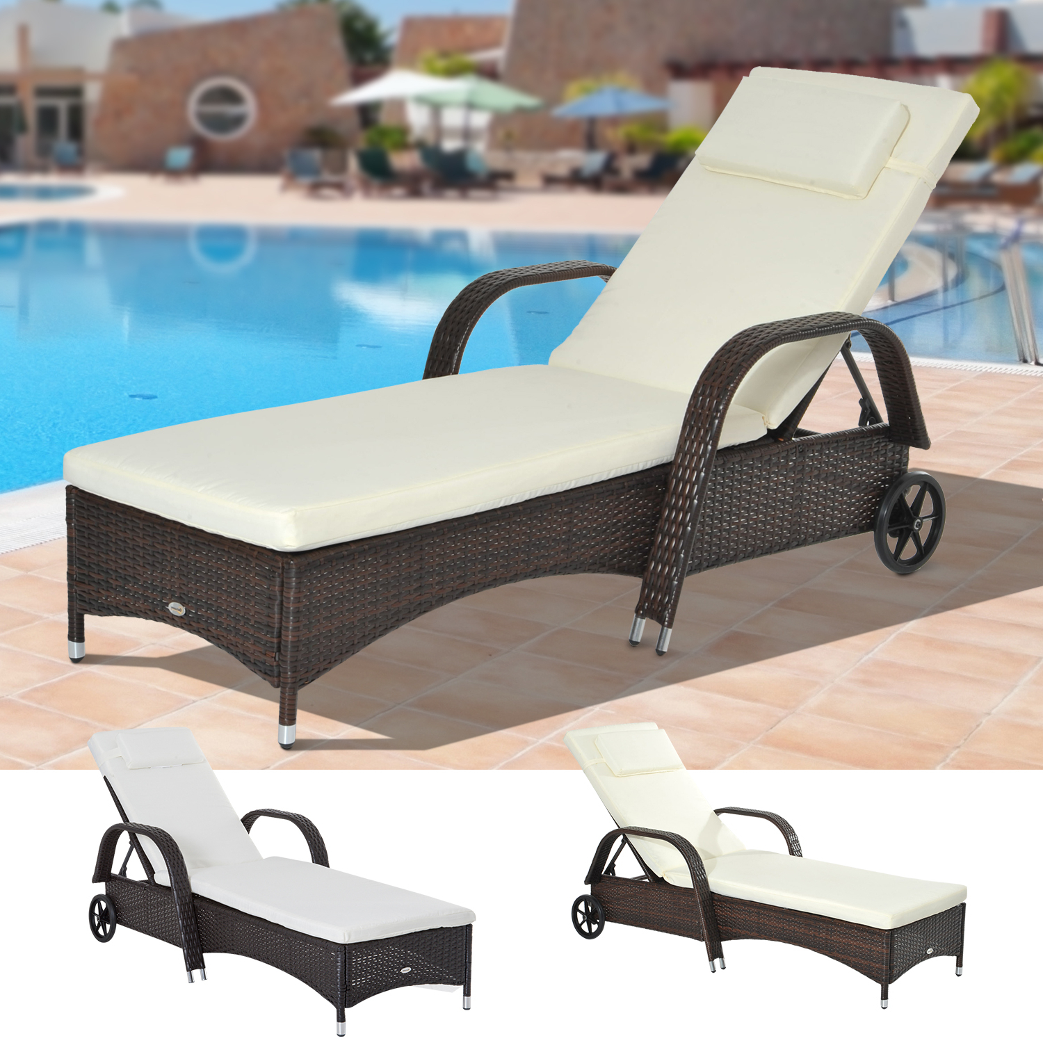 Plastic Chaise Lounges W/ Wheels With Favorite Details About Outdoor Rattan Wicker Chaise Lounge Beach Poolside Adjustable Sofa Chair W/wheel (View 17 of 25)