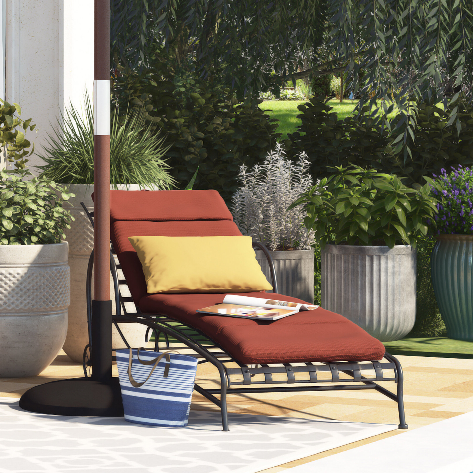 Polyester Indoor/outdoor Chaise Lounge Cushion Intended For Most Recent Indoor Outdoor Textured Bright Chaise Lounges With Sunbrella Fabric (Gallery 18 of 25)