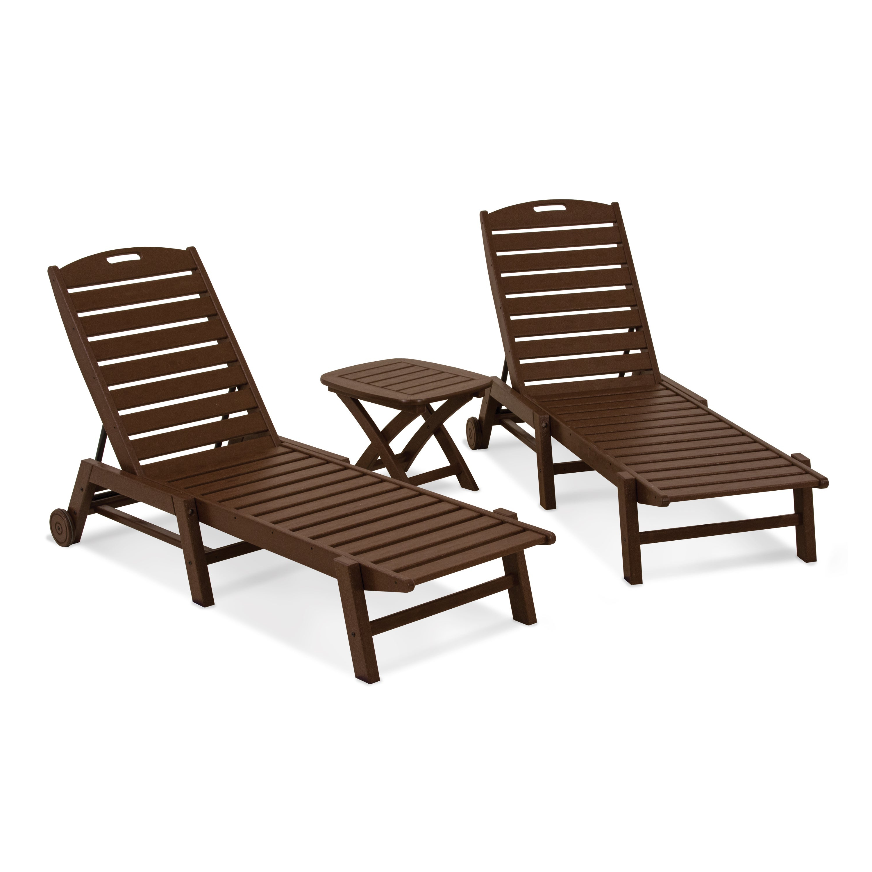 Polywood® Nautical 3 Piece Outdoor Chaise Lounge Set With Table Intended For Most Recent Nautical Wheeled Stackable Chaise Lounges (View 20 of 25)