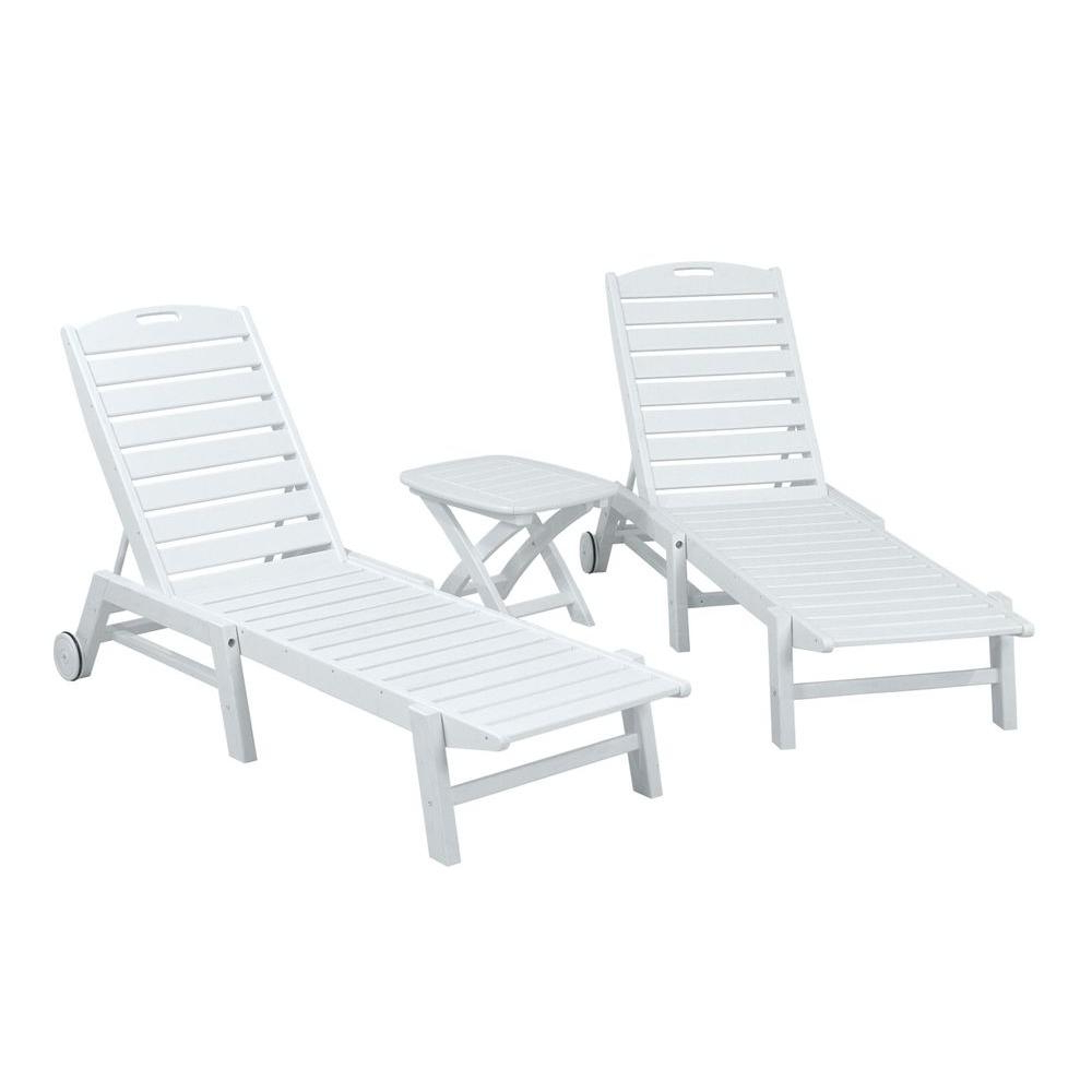 Polywood Nautical White 3 Piece Patio Chaise Set With Regard To 2020 Nautical 3 Piece Outdoor Chaise Lounge Sets With Table (Gallery 6 of 25)