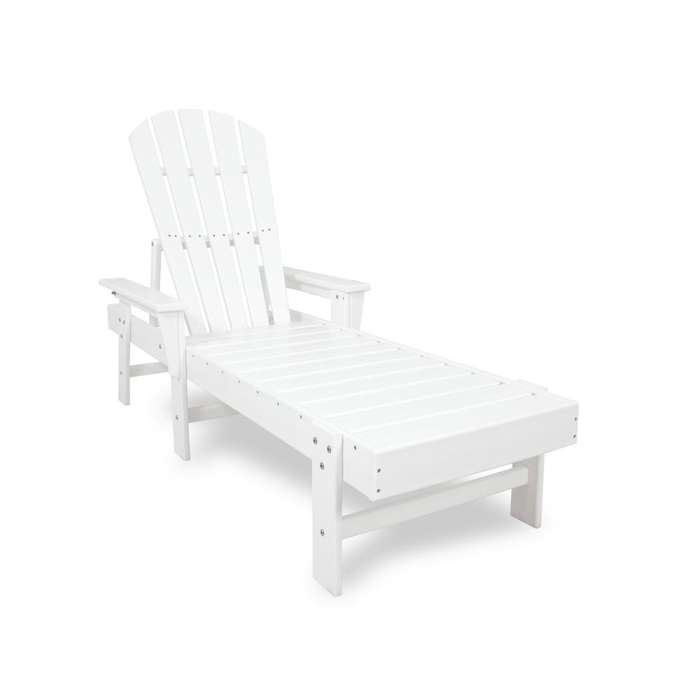 Polywood South Beach White Plastic Outdoor Patio Chaise Lounge Regarding Fashionable Amazonia Pacific 3 Piece Wheel Lounger Sets With White Cushions (Gallery 21 of 25)