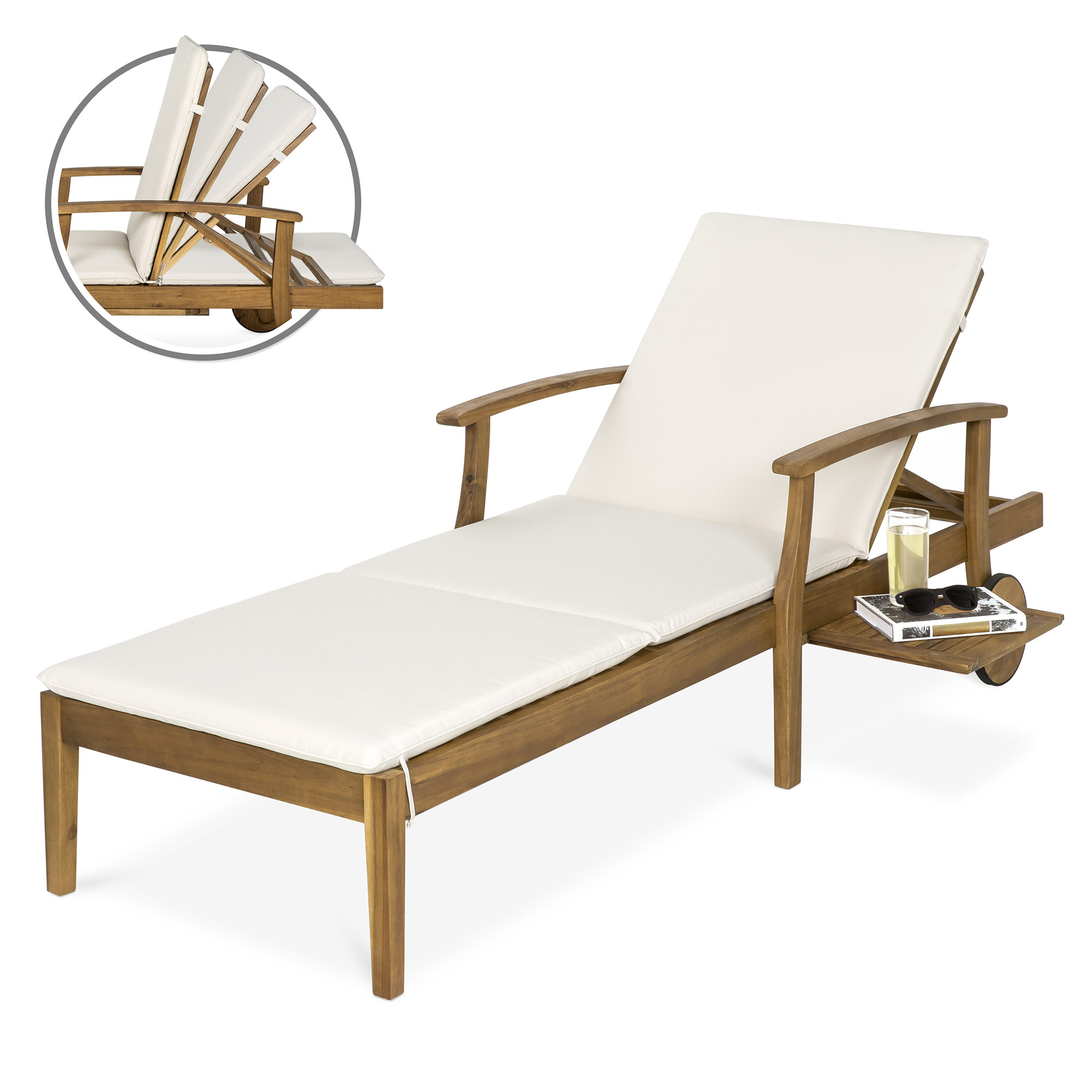 Popular Best Choice Products 79X30In Acacia Wood Outdoor Chaise Lounge Chair W/  Side Table, Adjustable Backrest, Cushion, Wheels Intended For Outdoor Acacia Wood Chaise Lounges And Cushion Sets (Gallery 19 of 25)