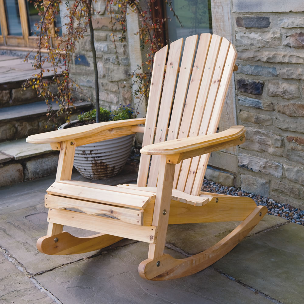 Popular Bowland Adirondack Wooden Rocking Chair For Garden Or Patio Within Outdoor Rocking Loungers (View 19 of 25)