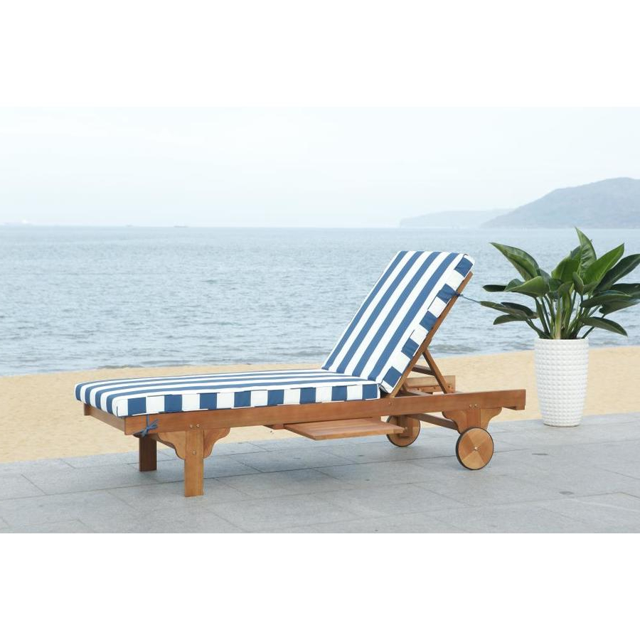 Popular Chaise Lounge Chairs In White With Navy Cushions Pertaining To Safavieh Newport Eucalyptus Chaise Lounge Chair With Navy (View 6 of 25)