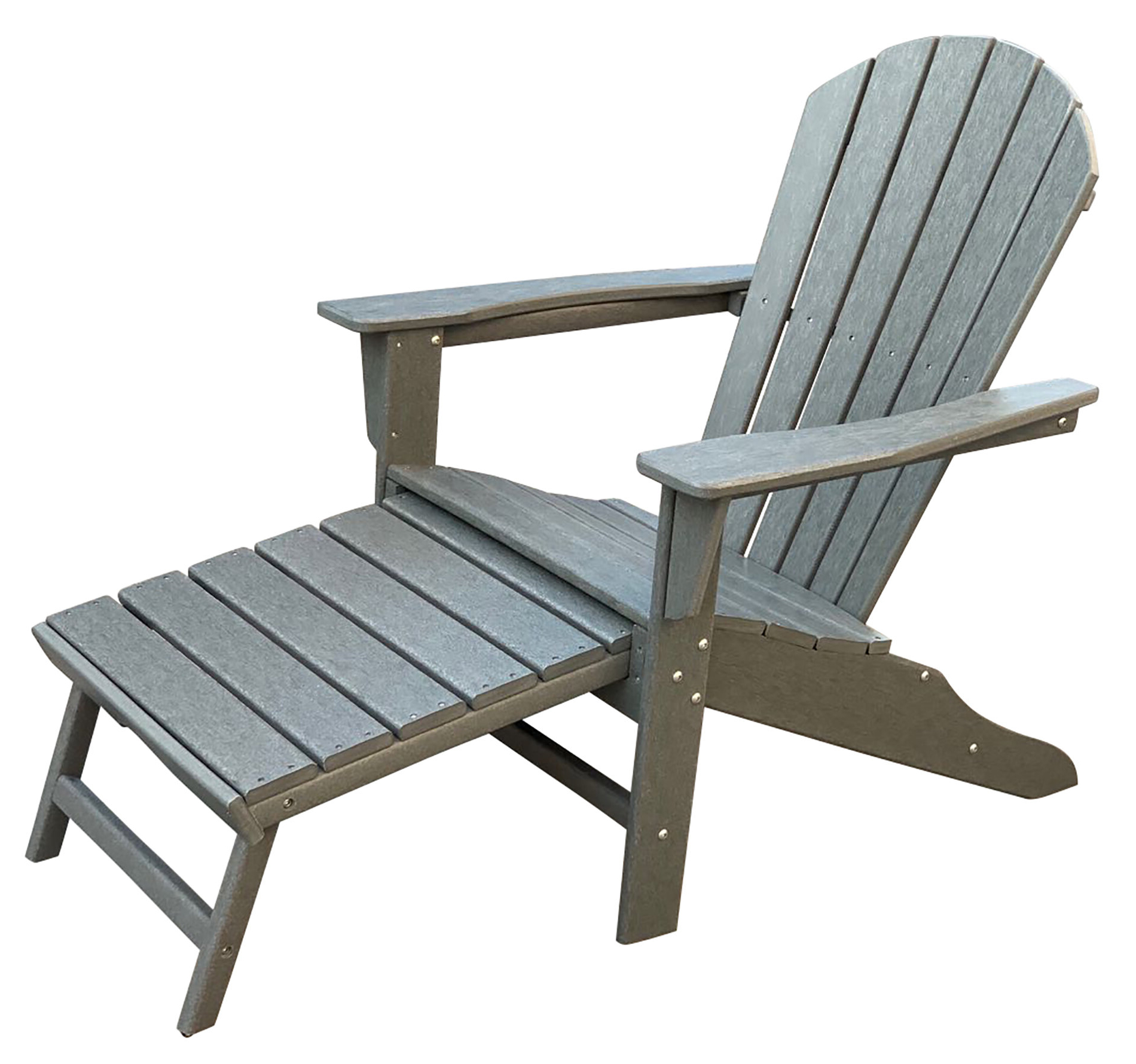 Popular Corinne Patio Plastic Adirondack Chair With Ottoman With Handmade White Folding Adirondack Pull Out Footrest Chairs (Gallery 11 of 25)