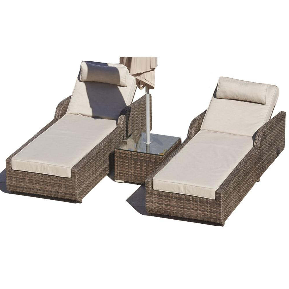 Popular Direct Wicker Alisa Brown 3 Piece Wicker Patio Adjustable Chaise Lounge Set With Beige Cushions And Side Table Within Resin Wicker Multi Position Double Patio Chaise Lounges (View 10 of 25)